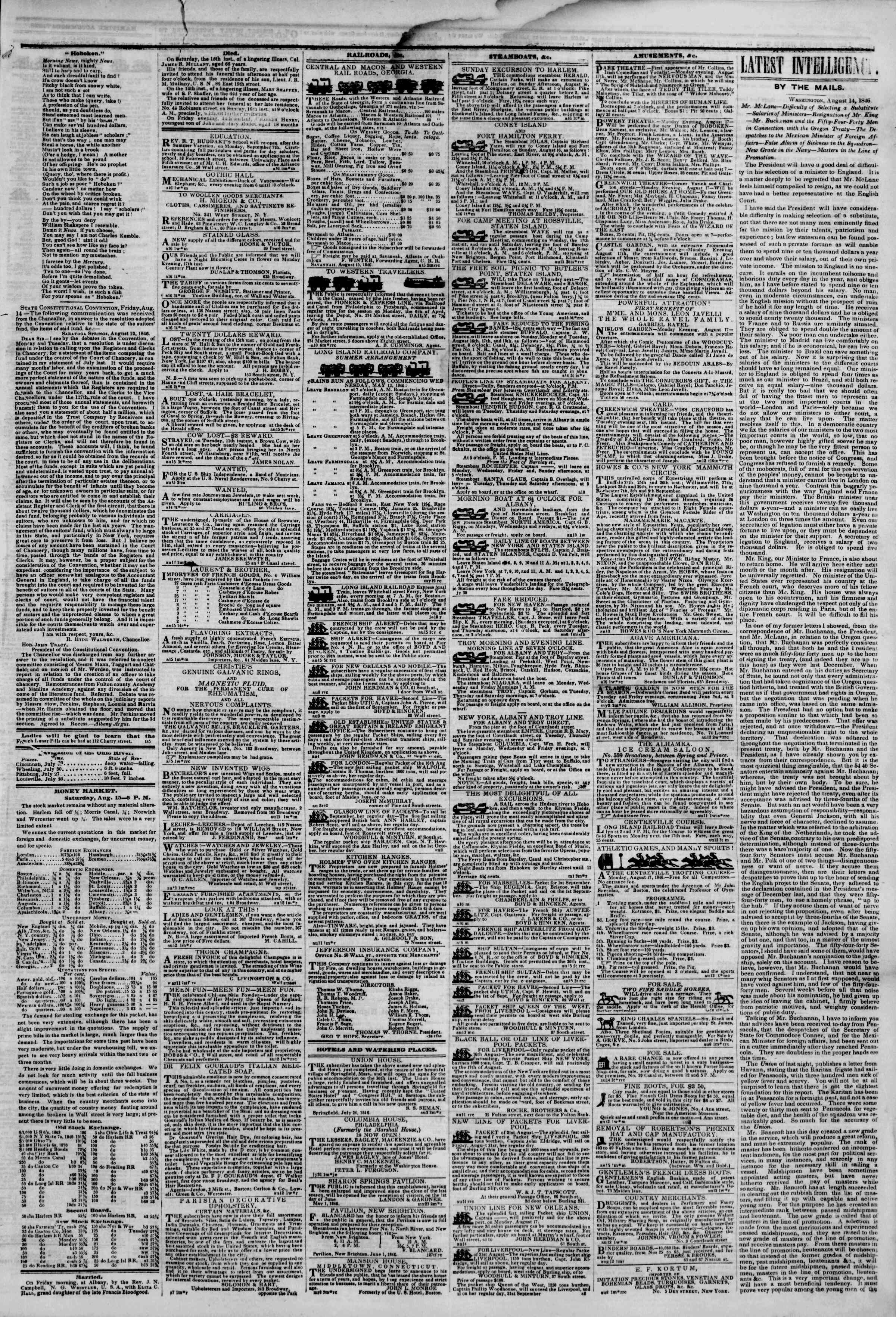 Newspaper of The New York Herald dated August 16, 1846 Page 3