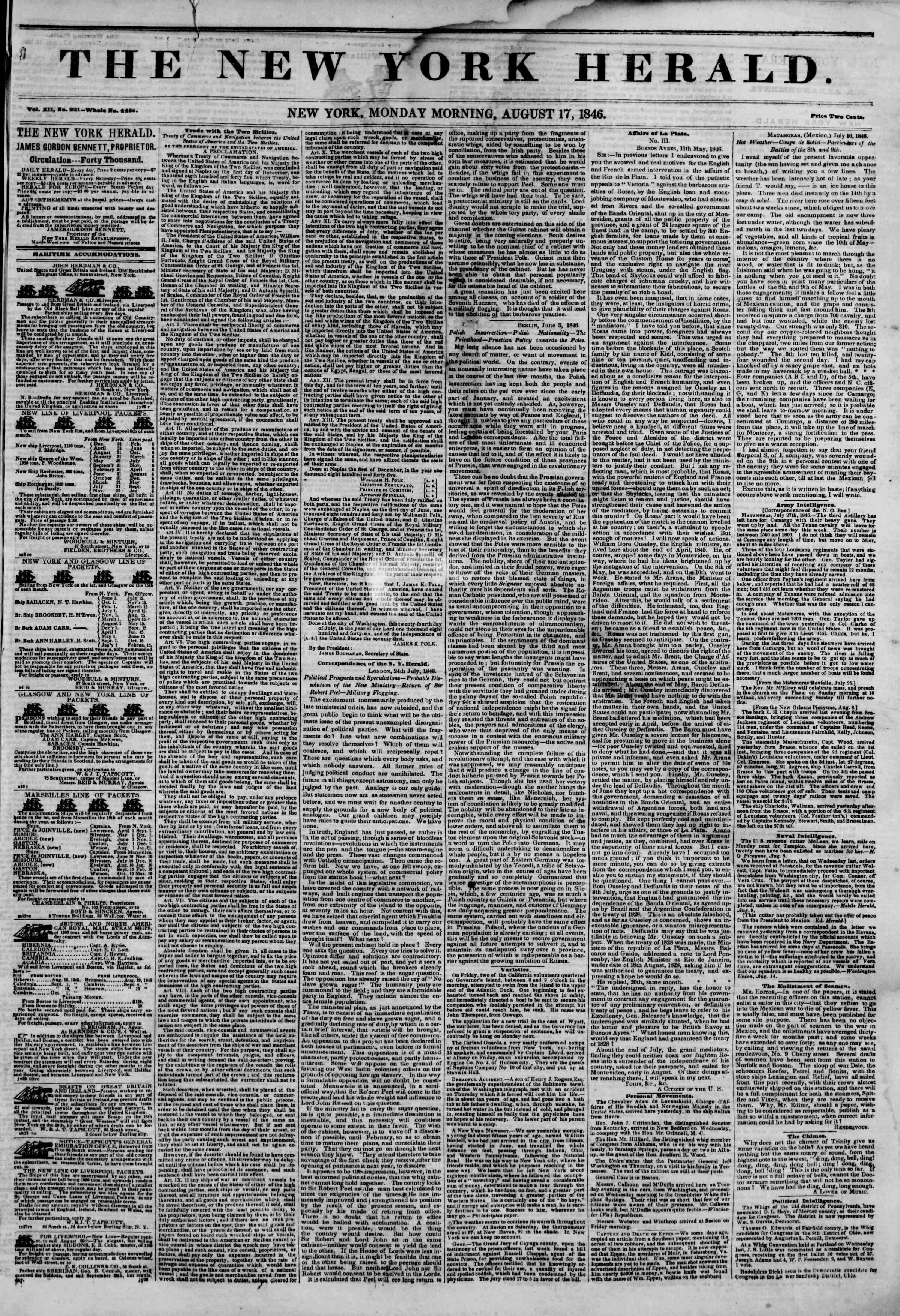 Newspaper of The New York Herald dated August 17, 1846 Page 1