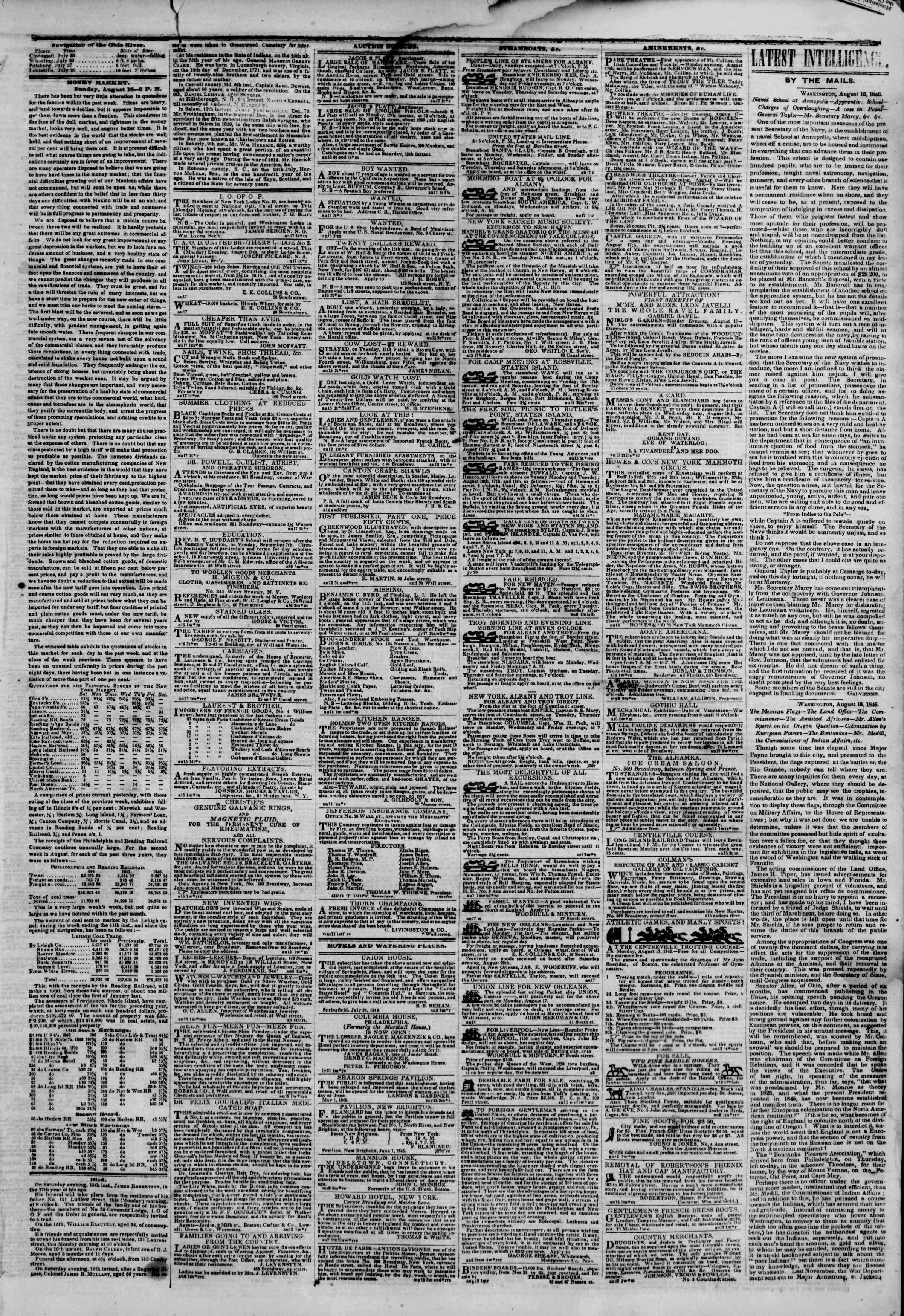 Newspaper of The New York Herald dated August 17, 1846 Page 3