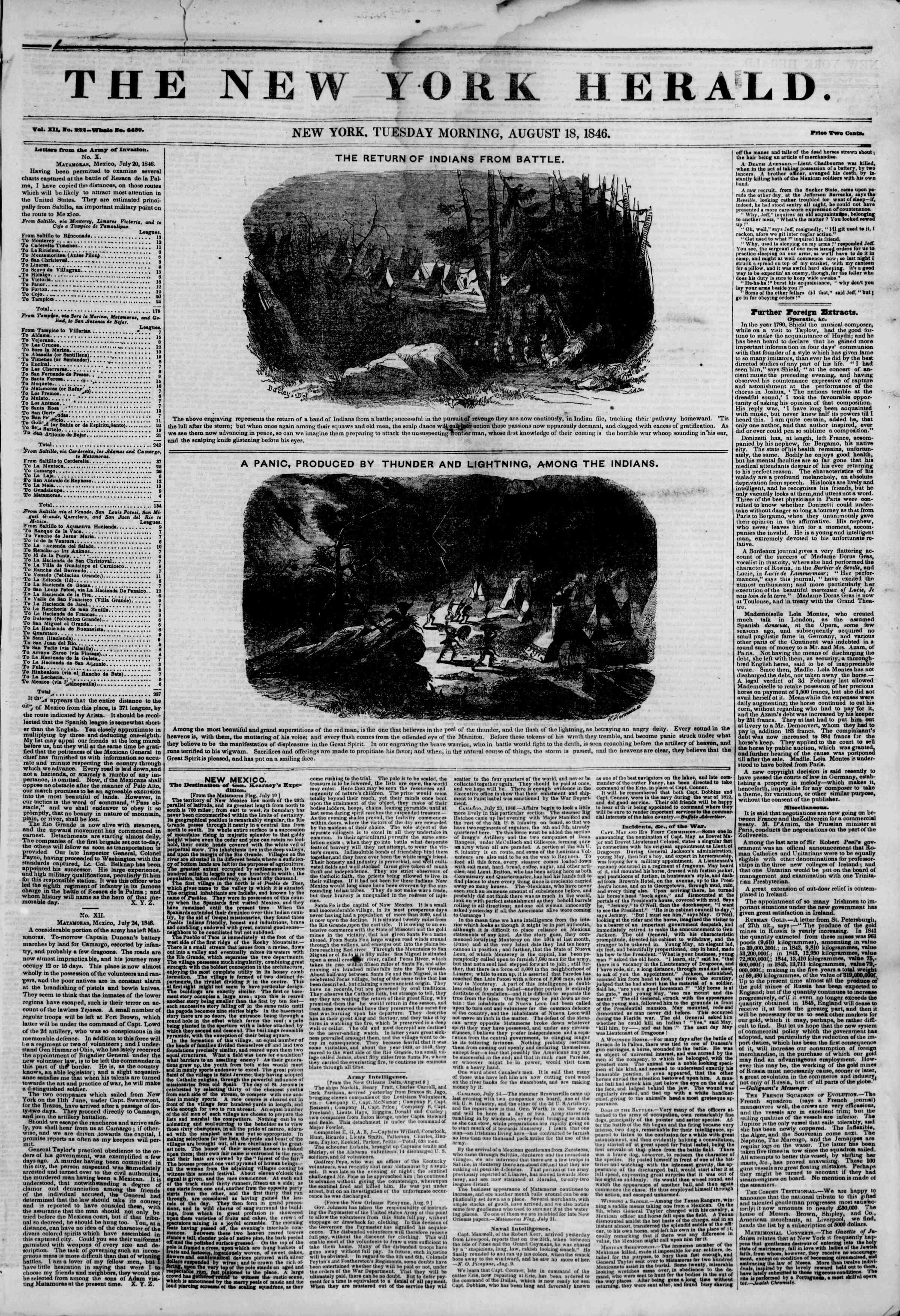 Newspaper of The New York Herald dated August 18, 1846 Page 1
