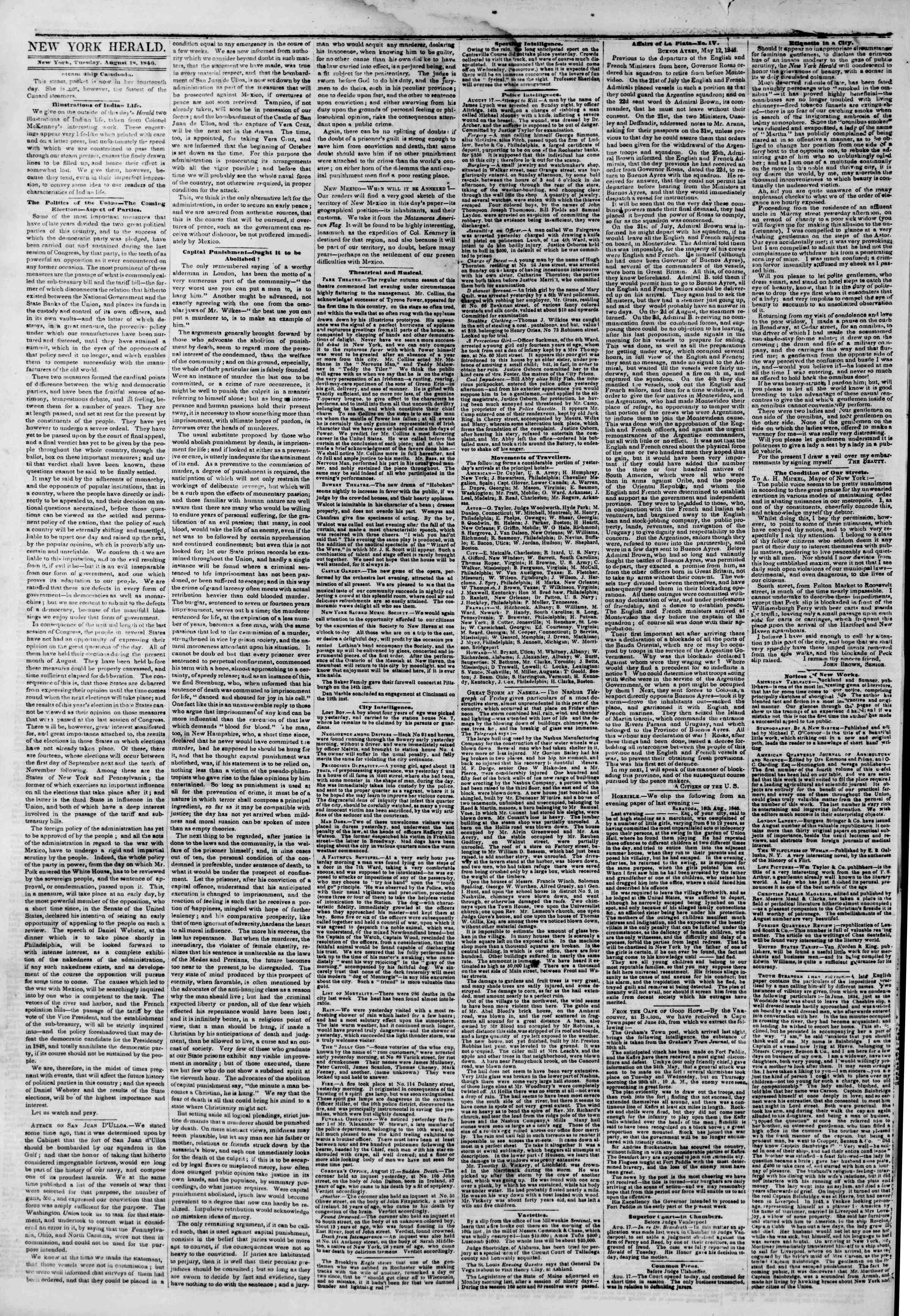 Newspaper of The New York Herald dated August 18, 1846 Page 2