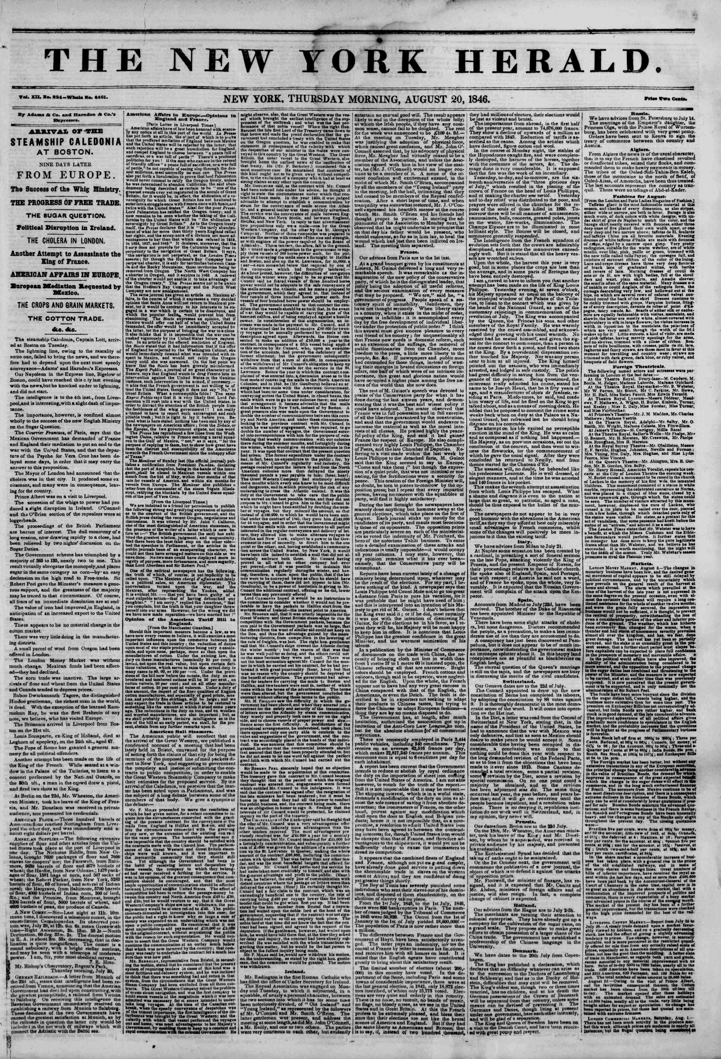 Newspaper of The New York Herald dated August 20, 1846 Page 1