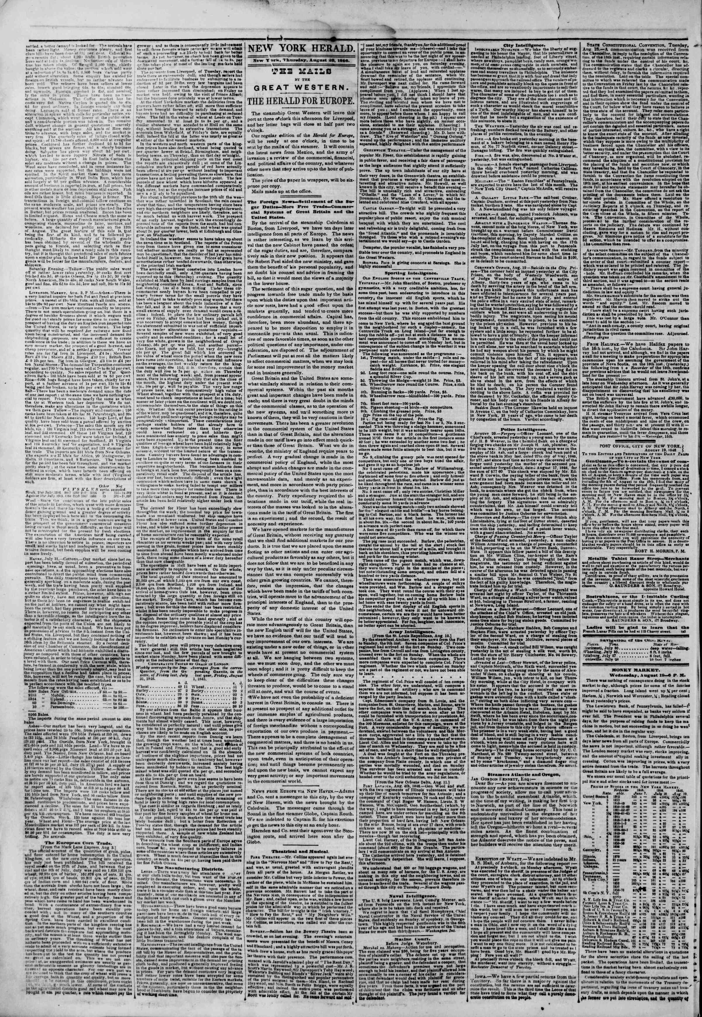 Newspaper of The New York Herald dated August 20, 1846 Page 2