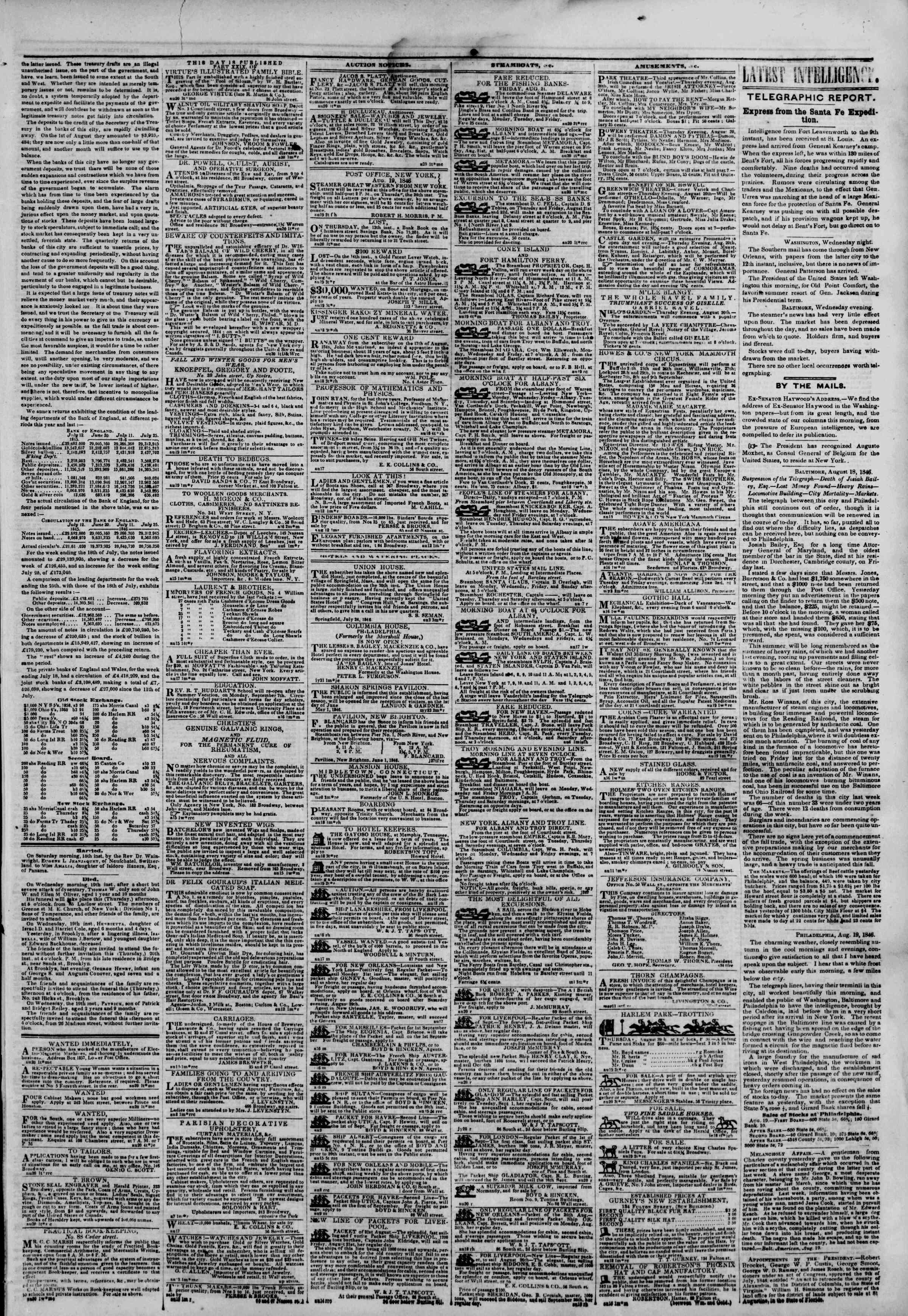 Newspaper of The New York Herald dated August 20, 1846 Page 3