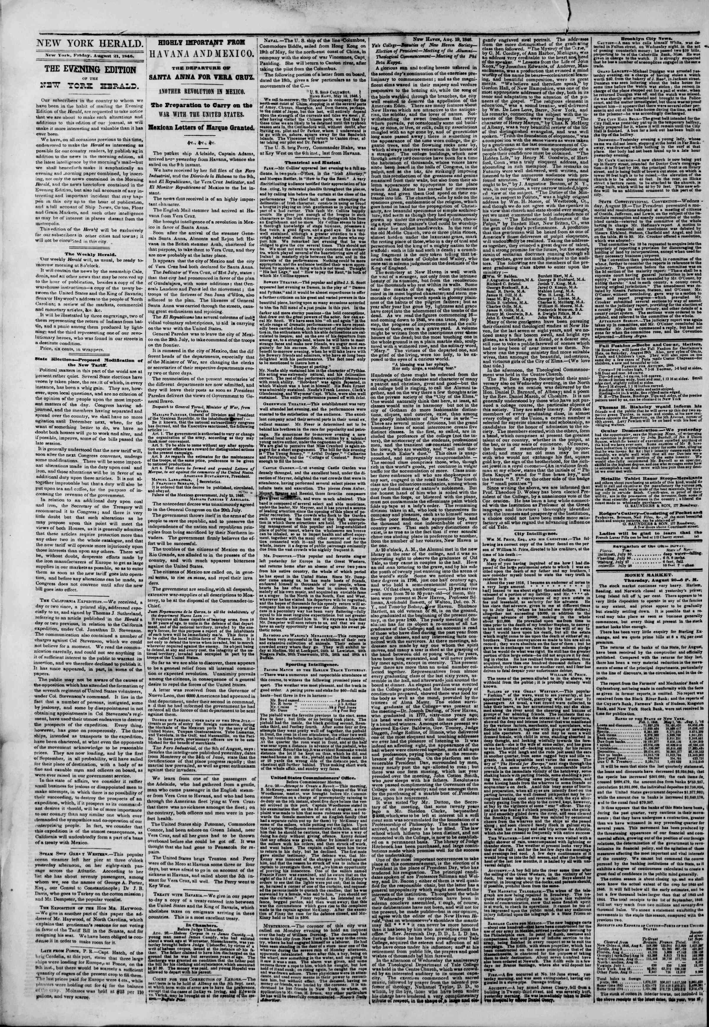 Newspaper of The New York Herald dated 21 Ağustos 1846 Page 2