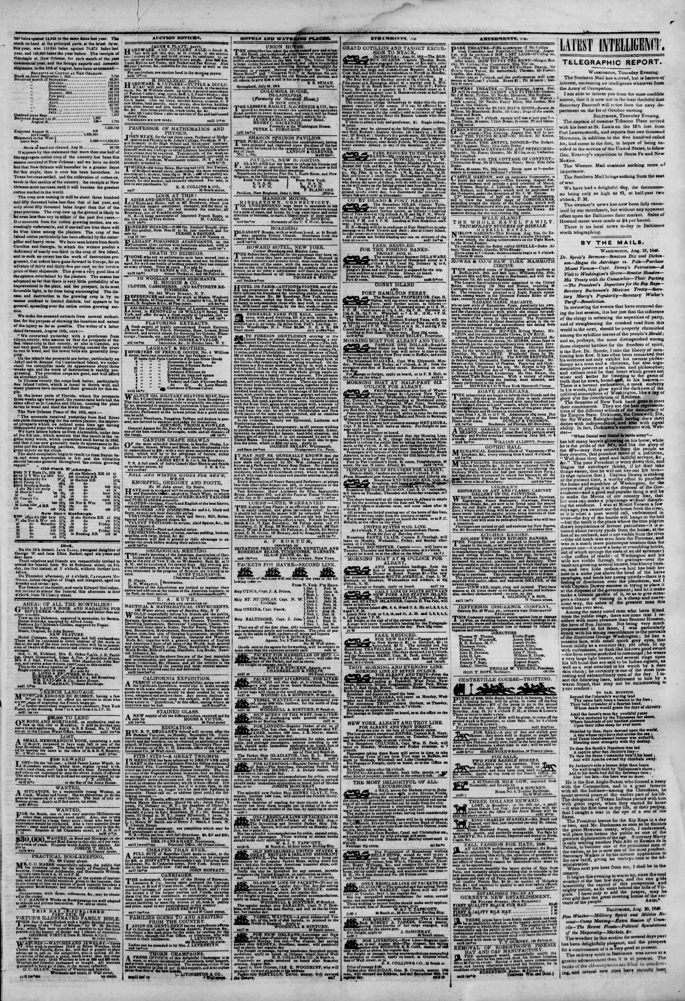 Newspaper of The New York Herald dated August 21, 1846 Page 3