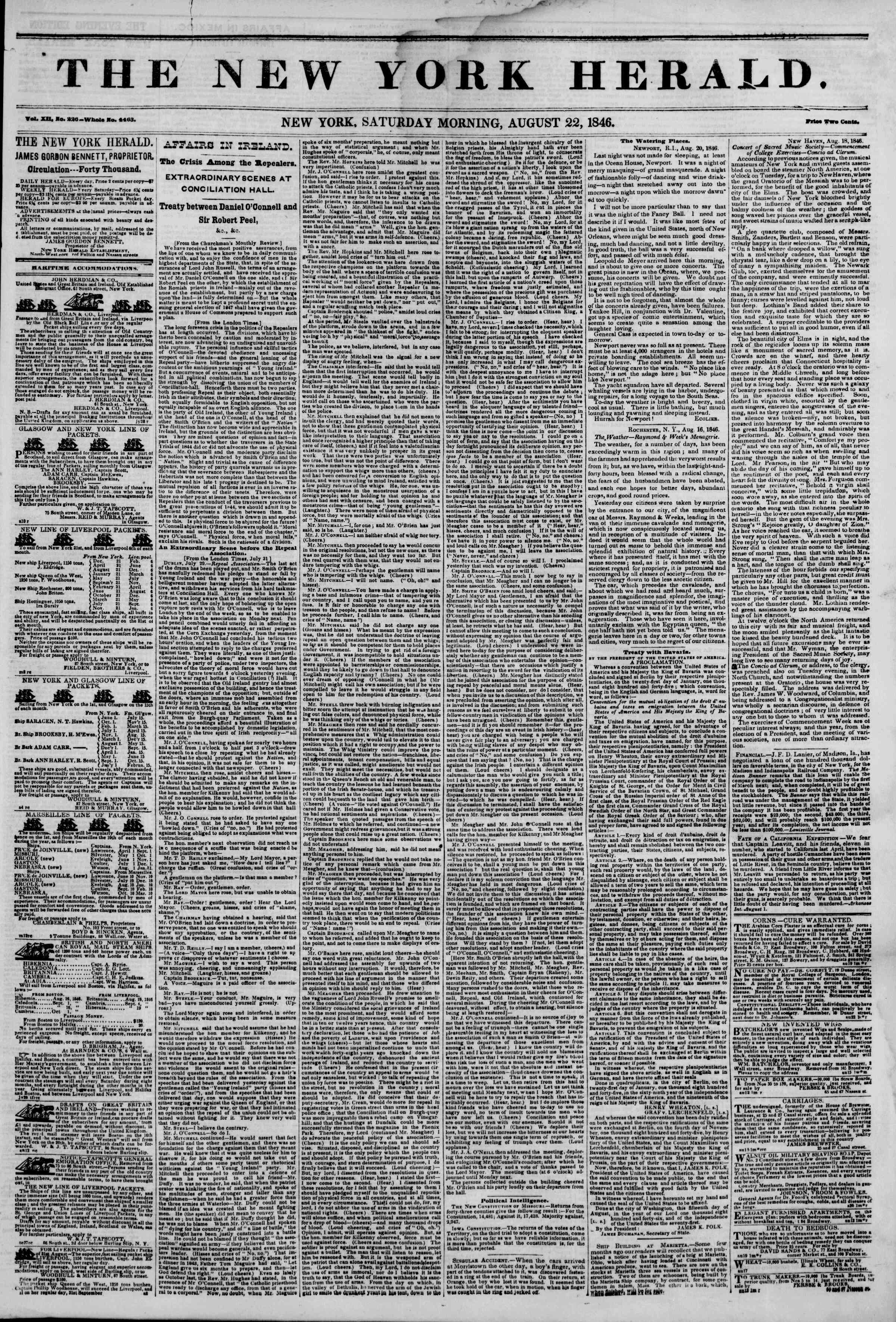 Newspaper of The New York Herald dated August 22, 1846 Page 1
