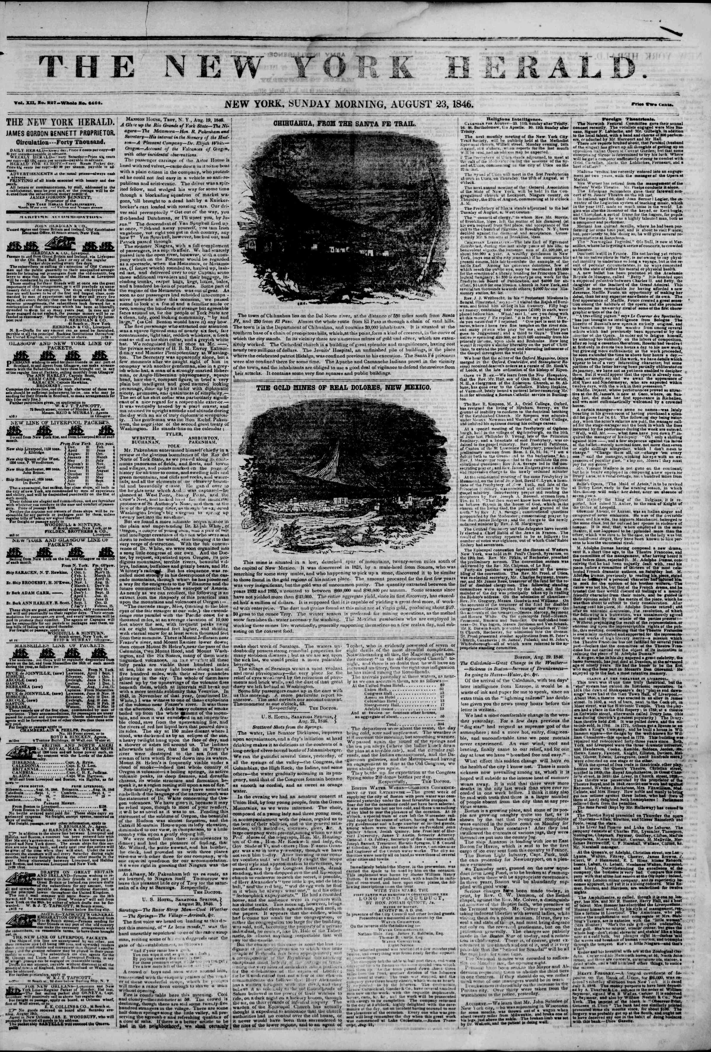 Newspaper of The New York Herald dated August 23, 1846 Page 1
