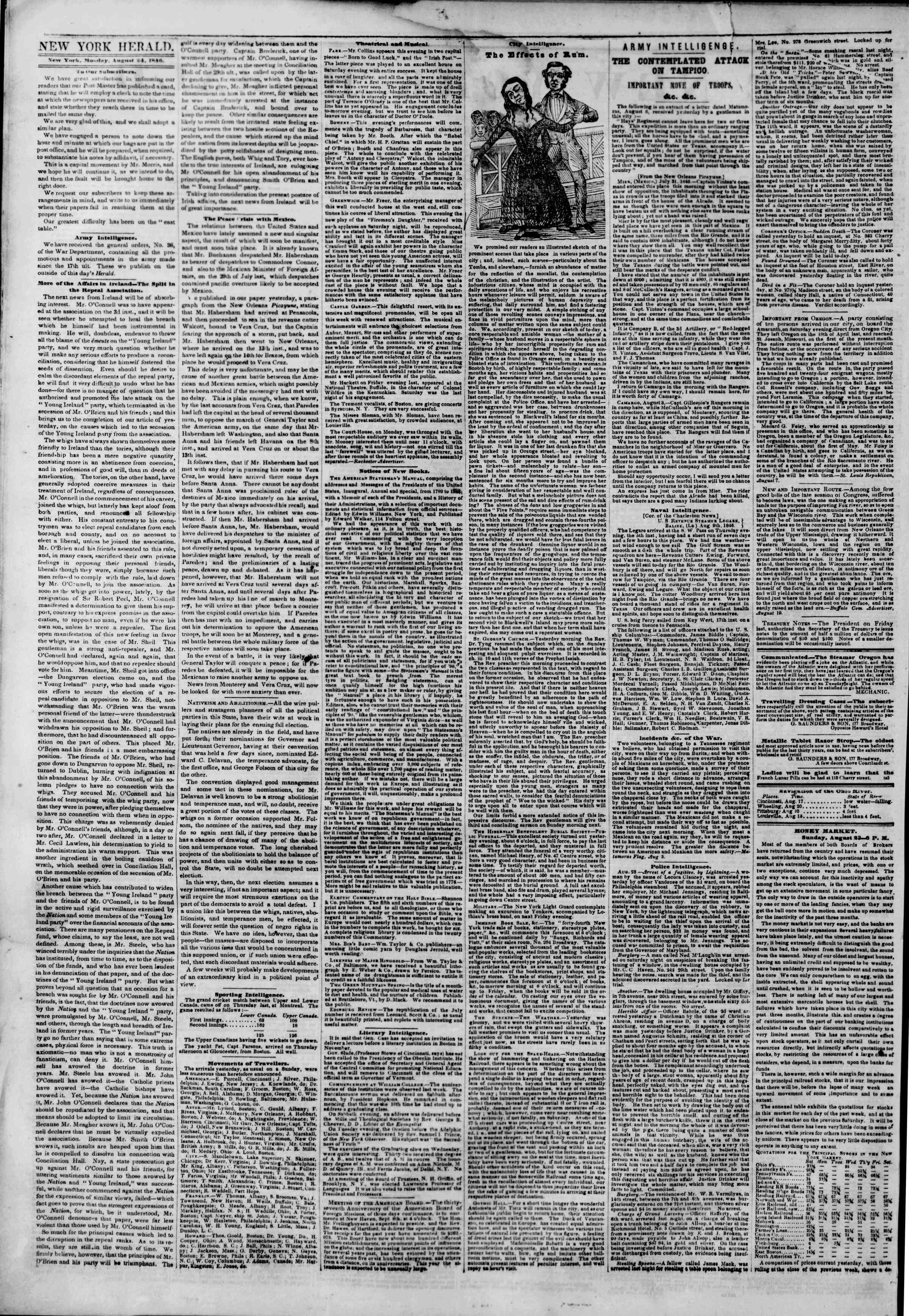 Newspaper of The New York Herald dated August 24, 1846 Page 2