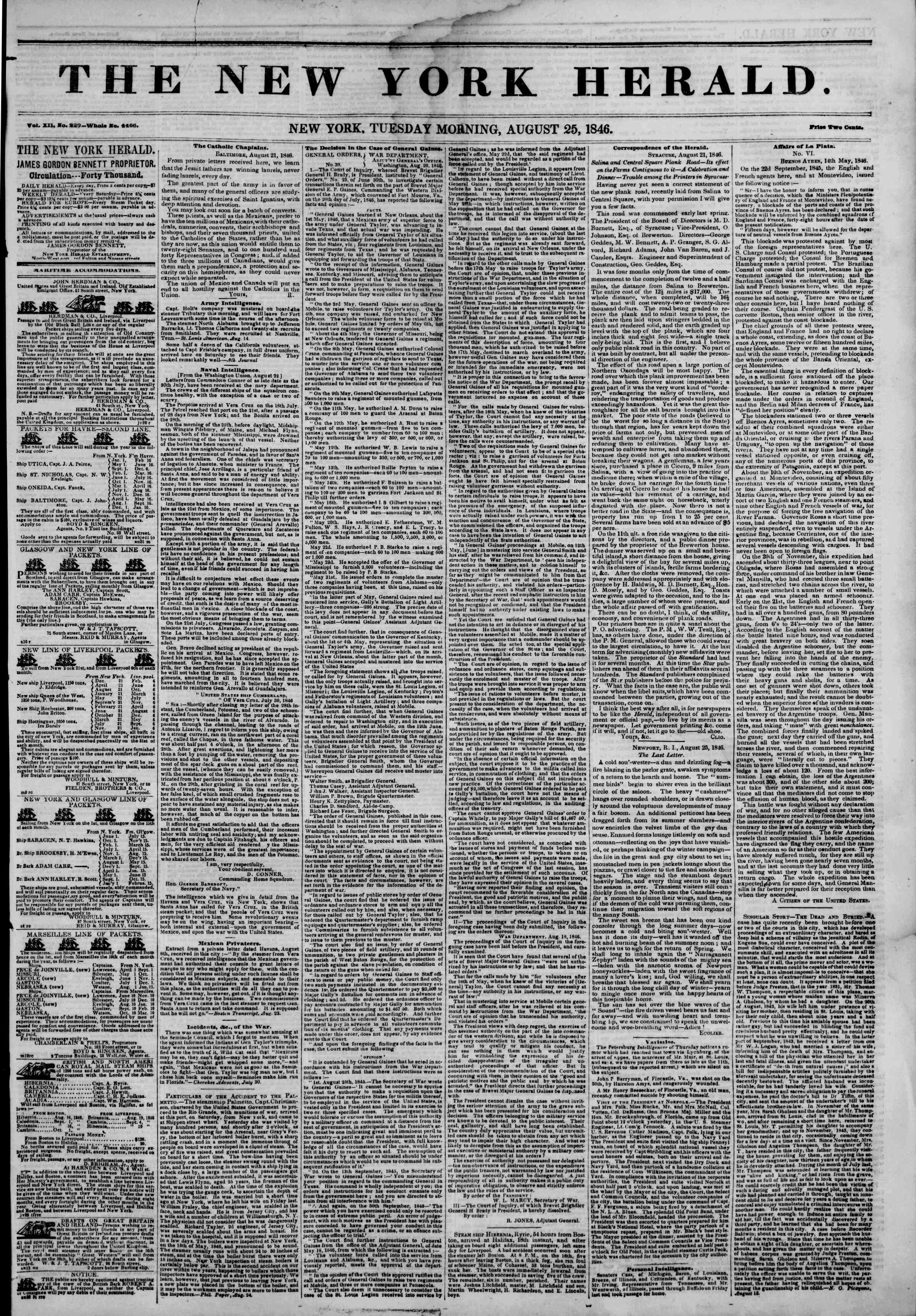 Newspaper of The New York Herald dated August 25, 1846 Page 1
