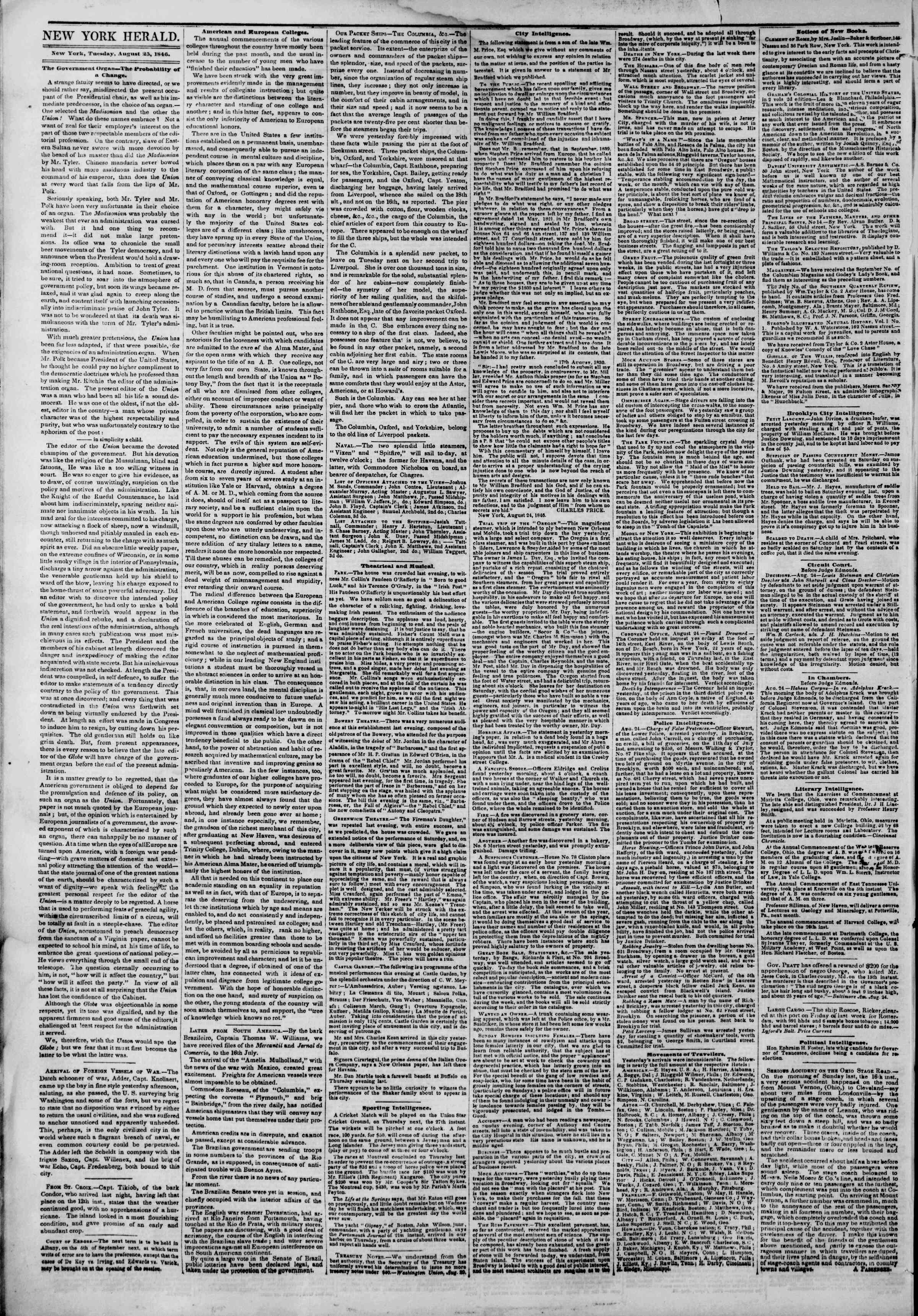 Newspaper of The New York Herald dated August 25, 1846 Page 2