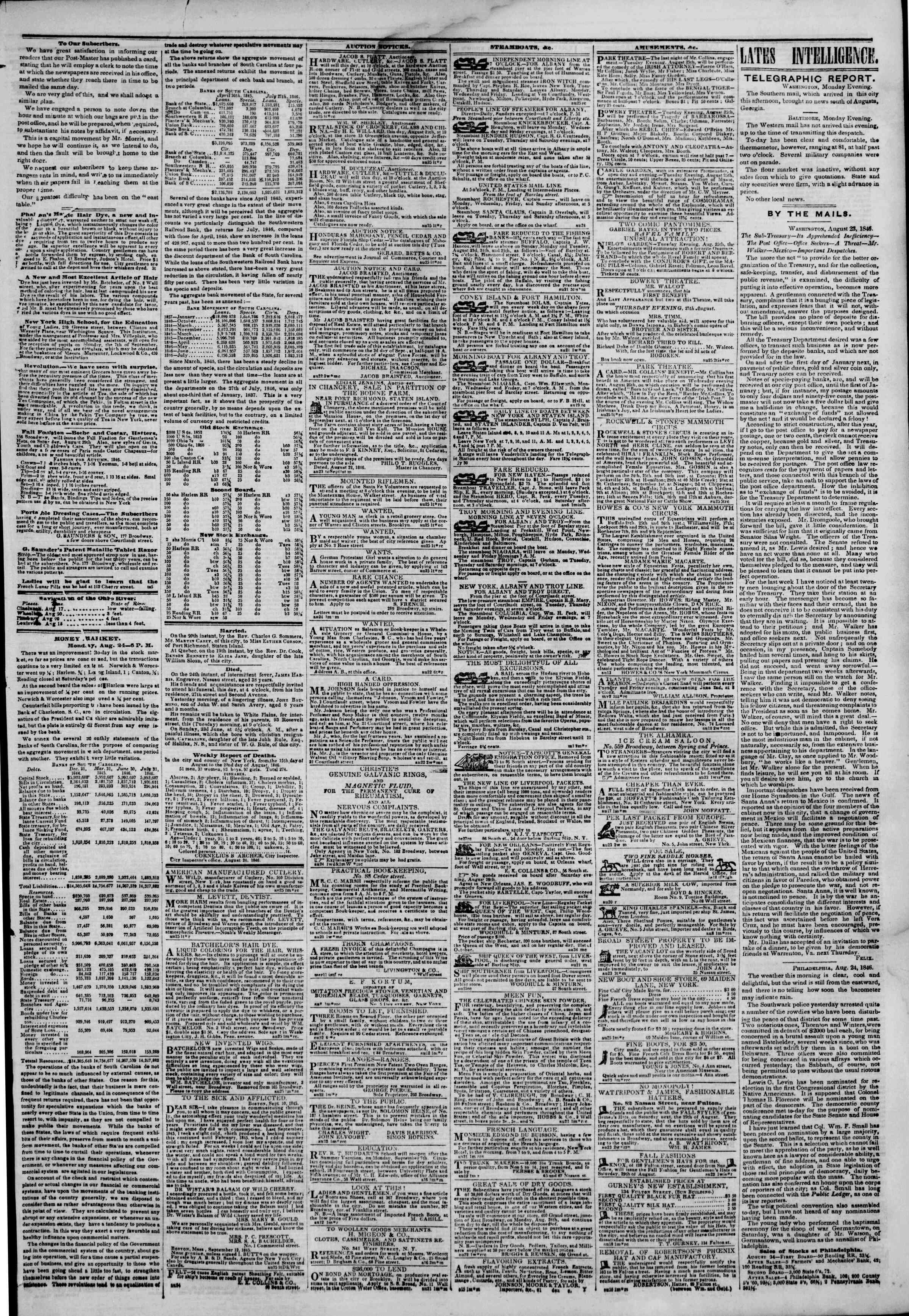 Newspaper of The New York Herald dated August 25, 1846 Page 3