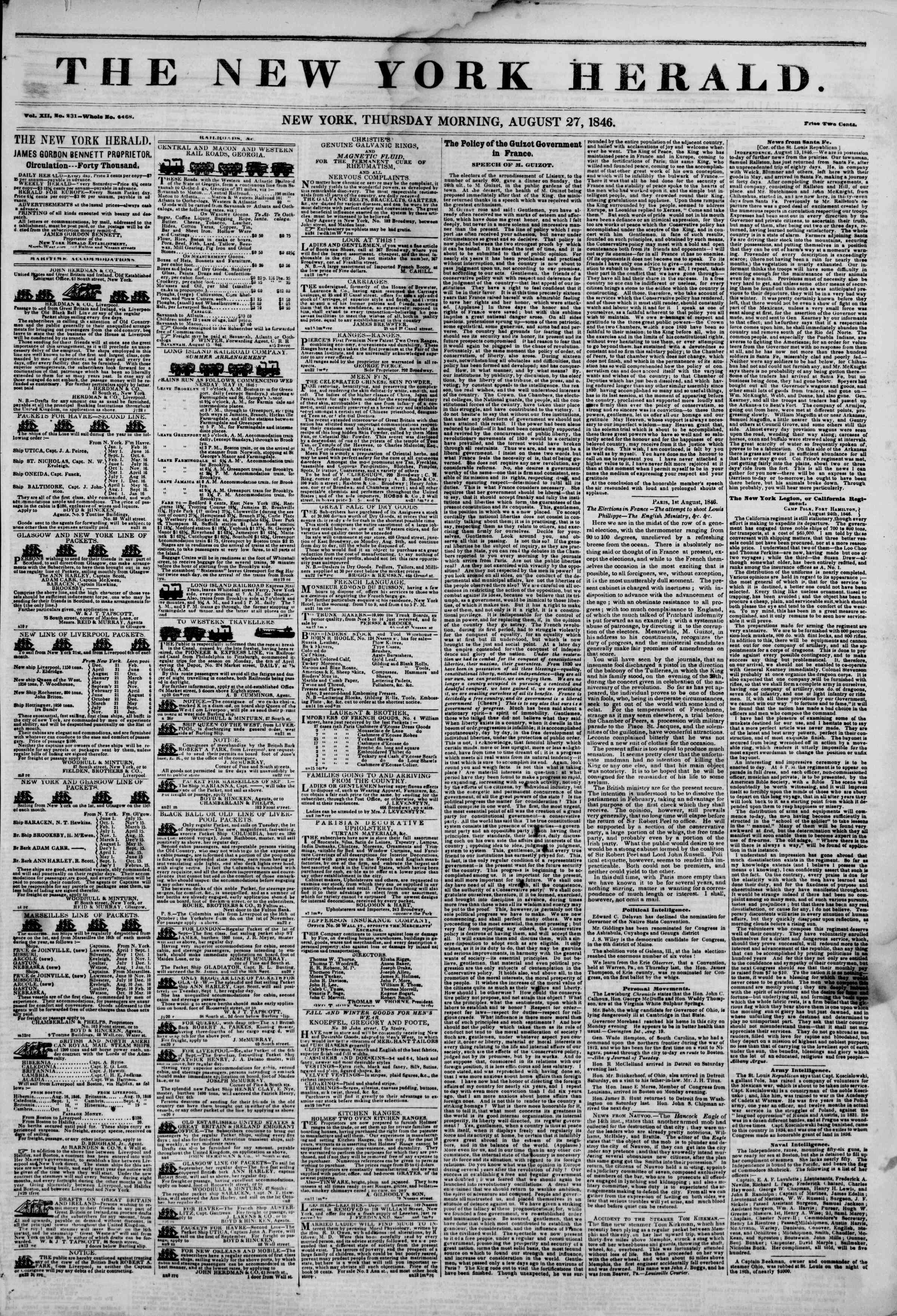Newspaper of The New York Herald dated August 27, 1846 Page 1