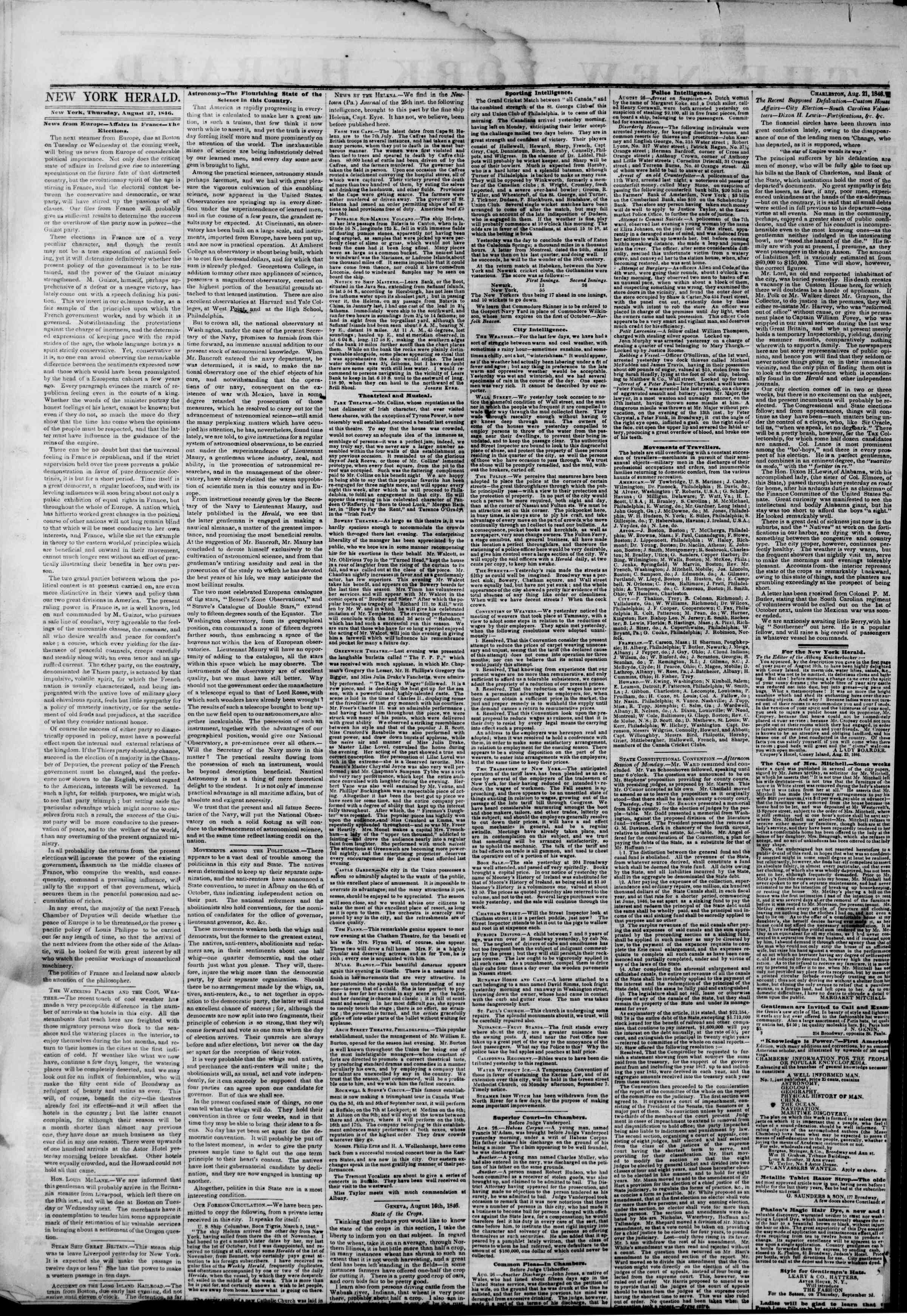 Newspaper of The New York Herald dated August 27, 1846 Page 2