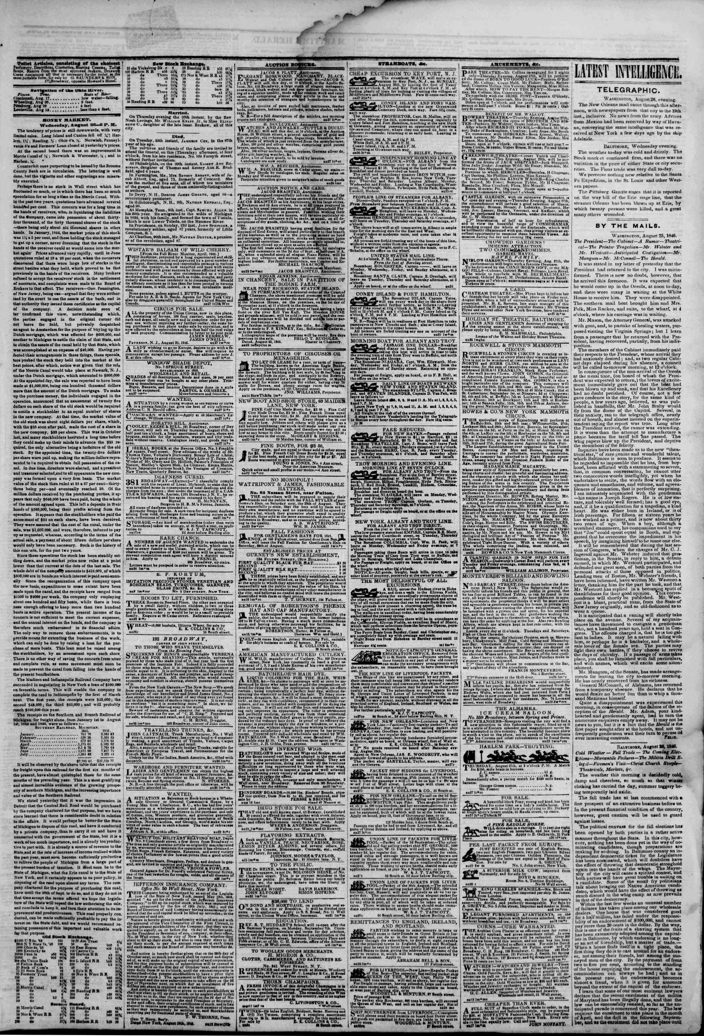Newspaper of The New York Herald dated August 27, 1846 Page 3