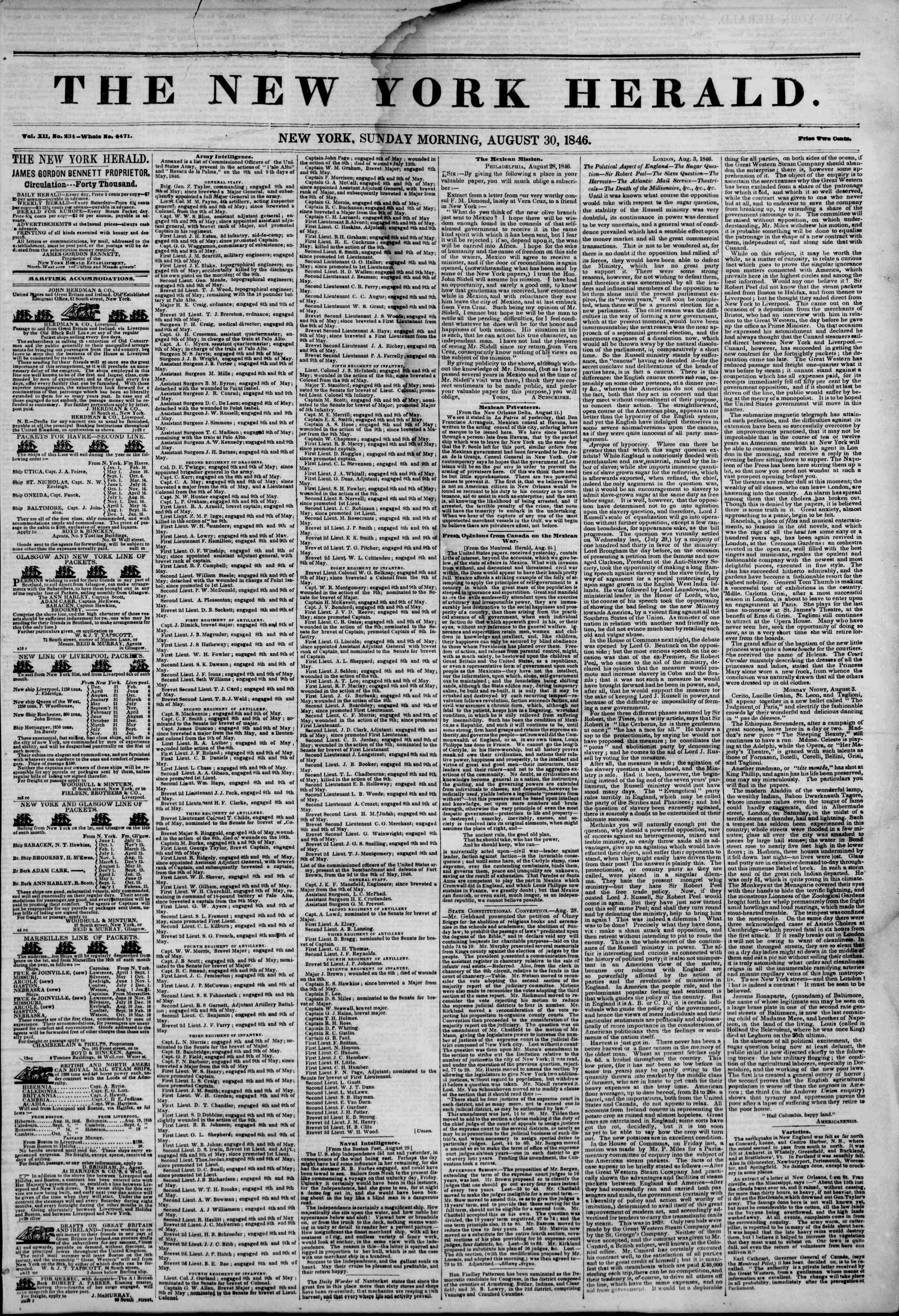 Newspaper of The New York Herald dated August 30, 1846 Page 1
