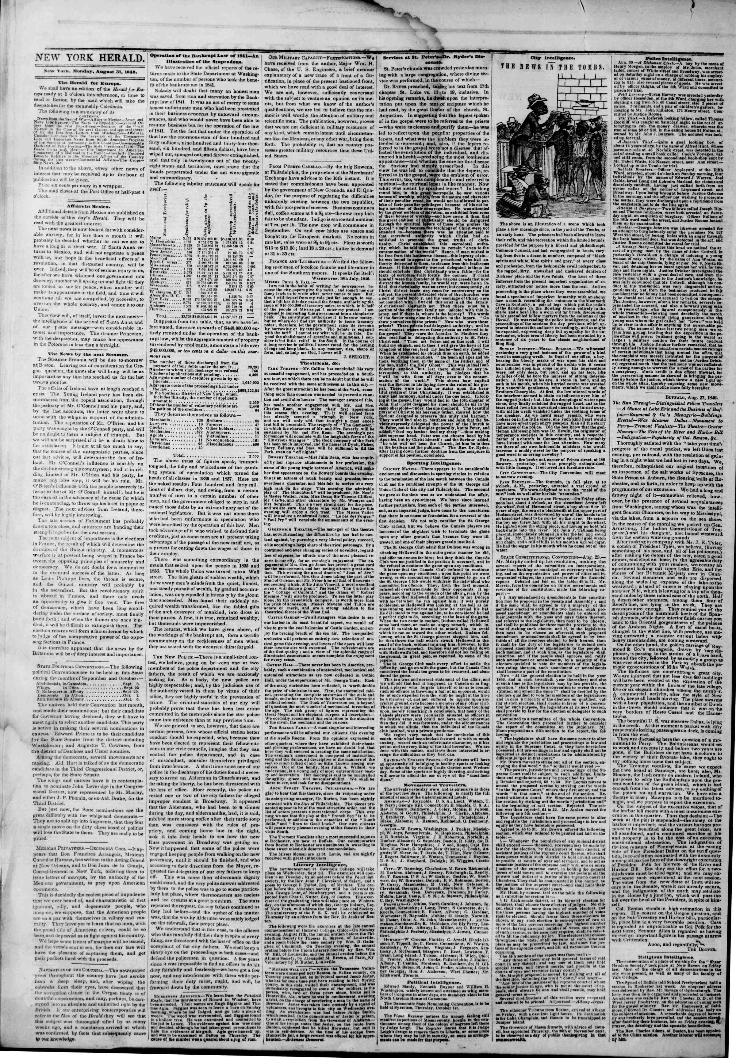 Newspaper of The New York Herald dated August 31, 1846 Page 2