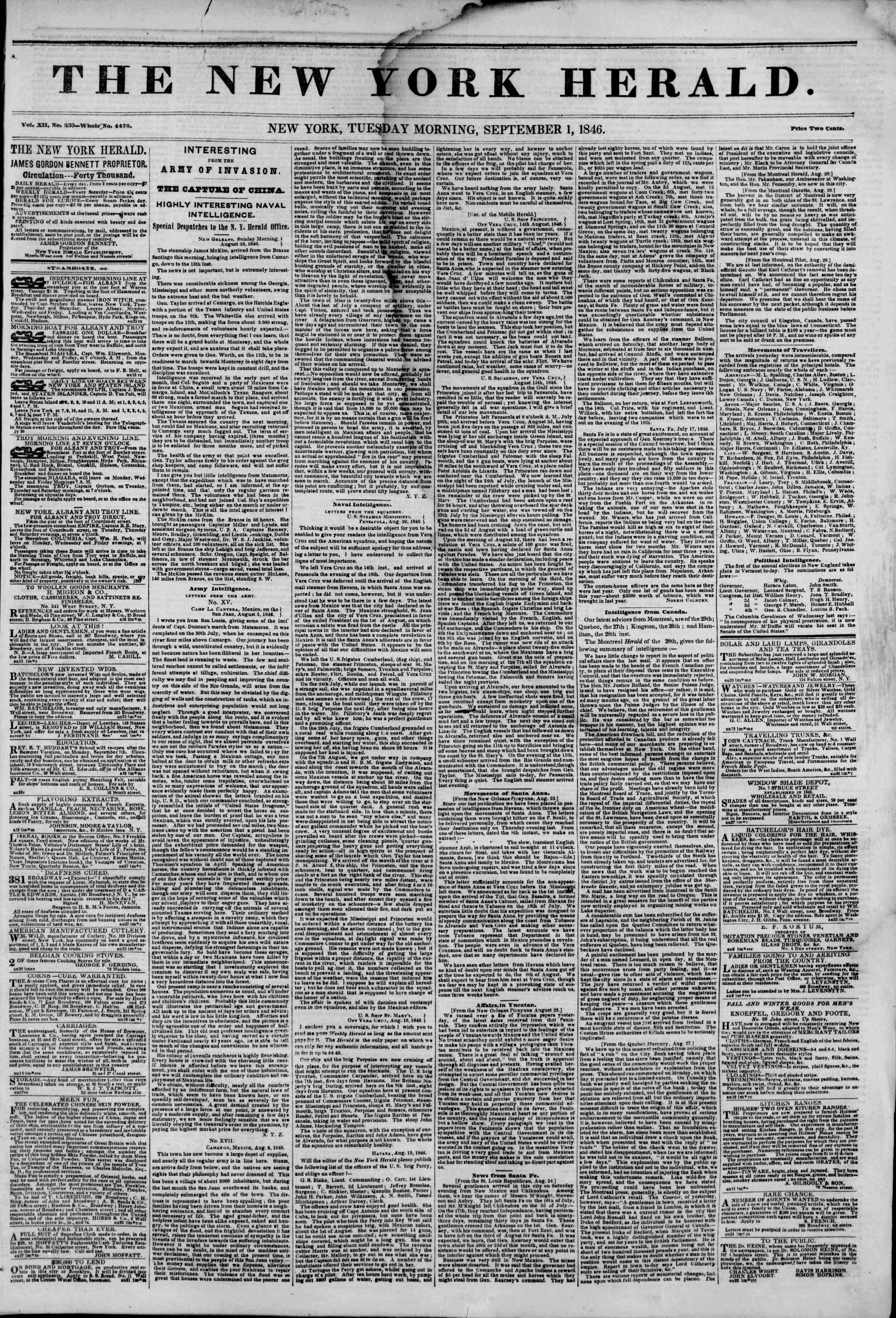 Newspaper of The New York Herald dated September 1, 1846 Page 1