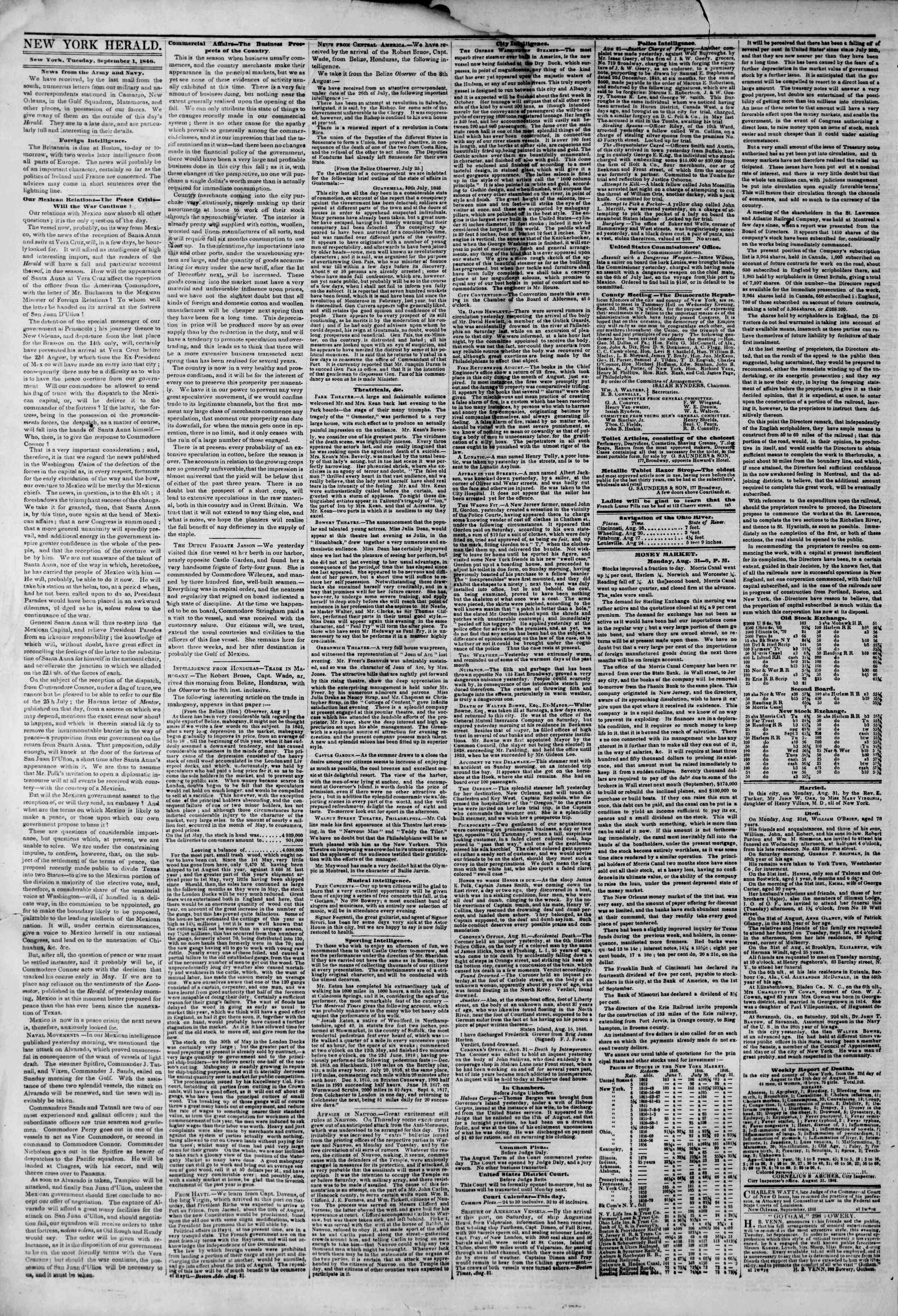 Newspaper of The New York Herald dated September 1, 1846 Page 2