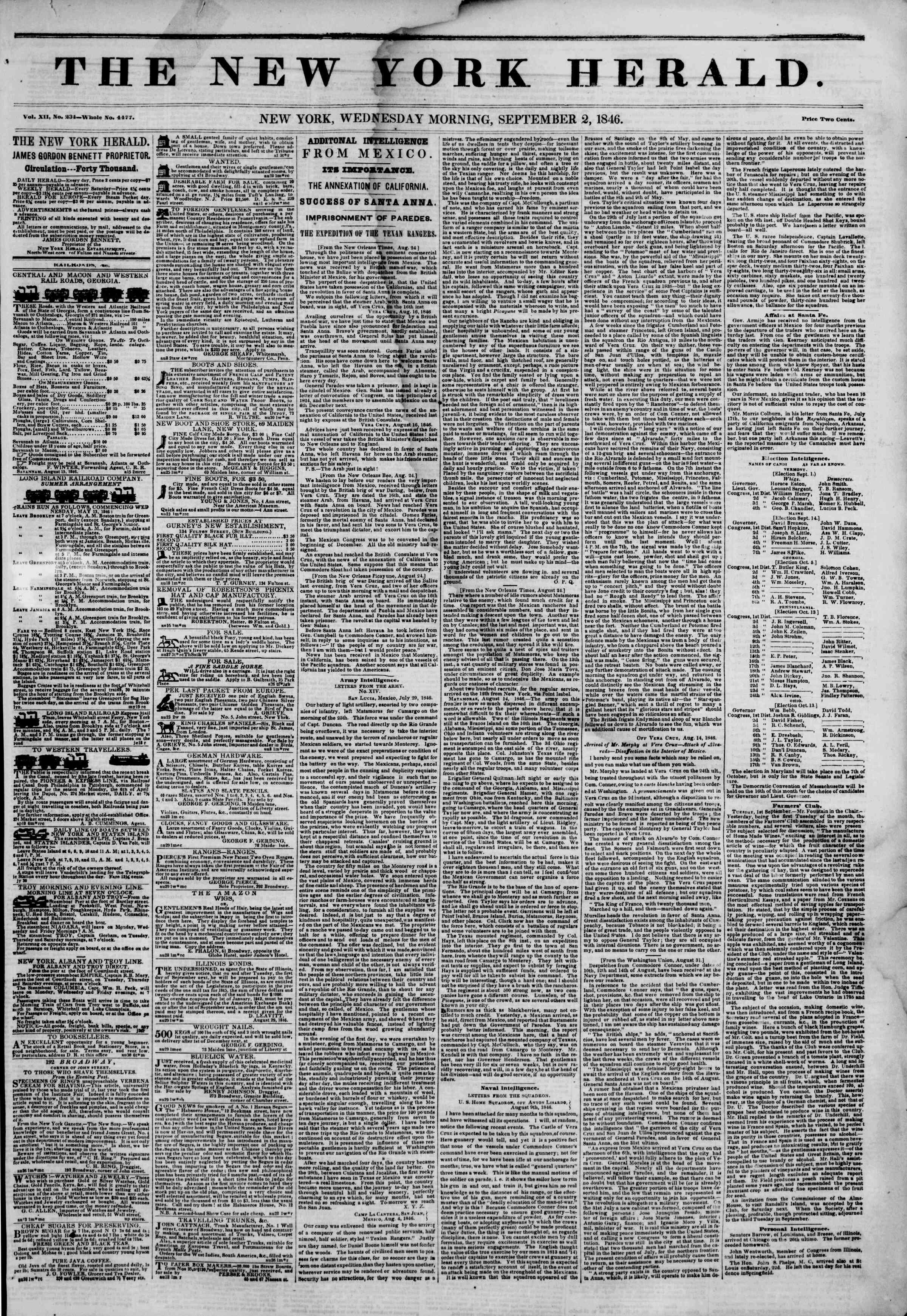 Newspaper of The New York Herald dated September 2, 1846 Page 1