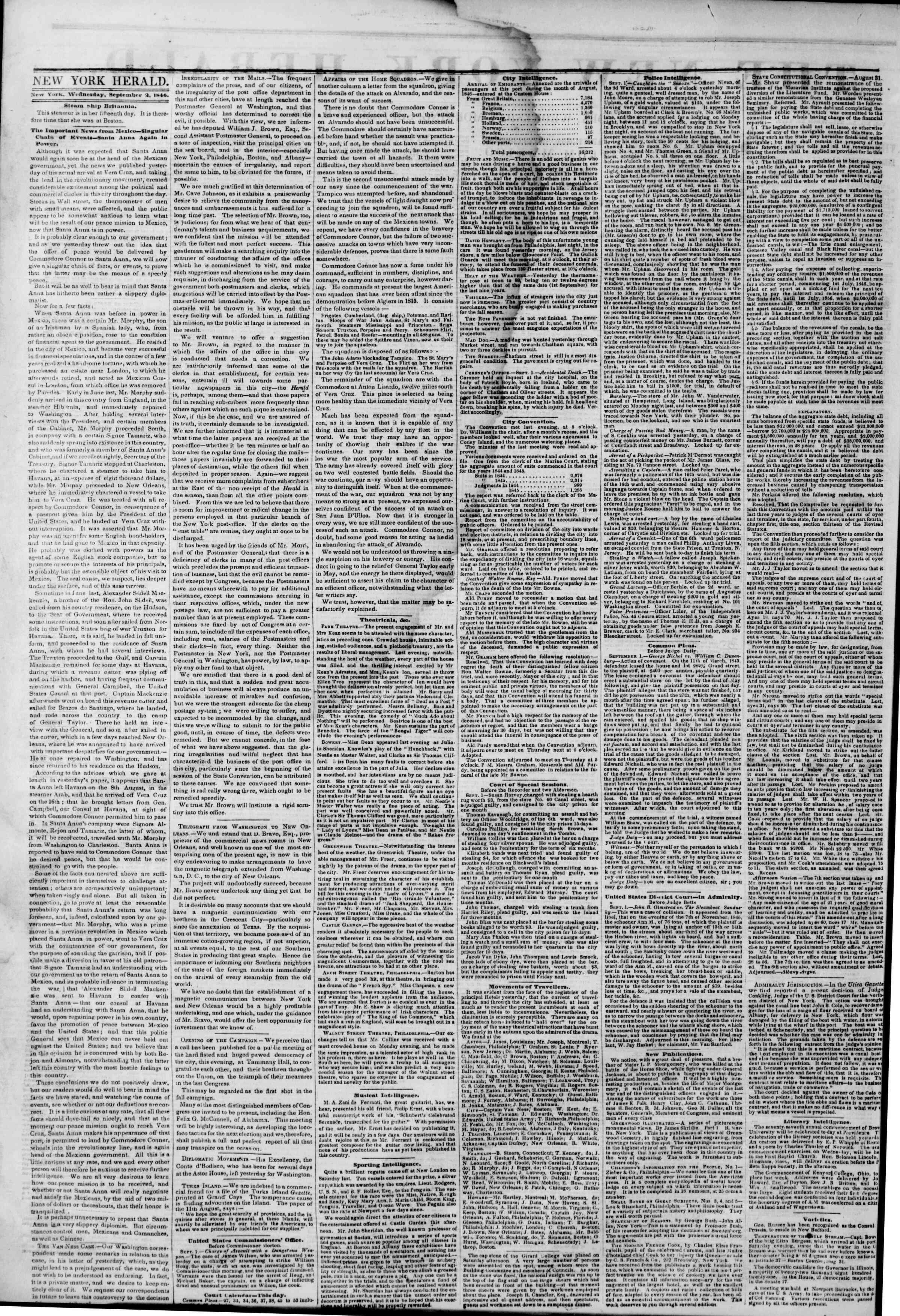 Newspaper of The New York Herald dated September 2, 1846 Page 2