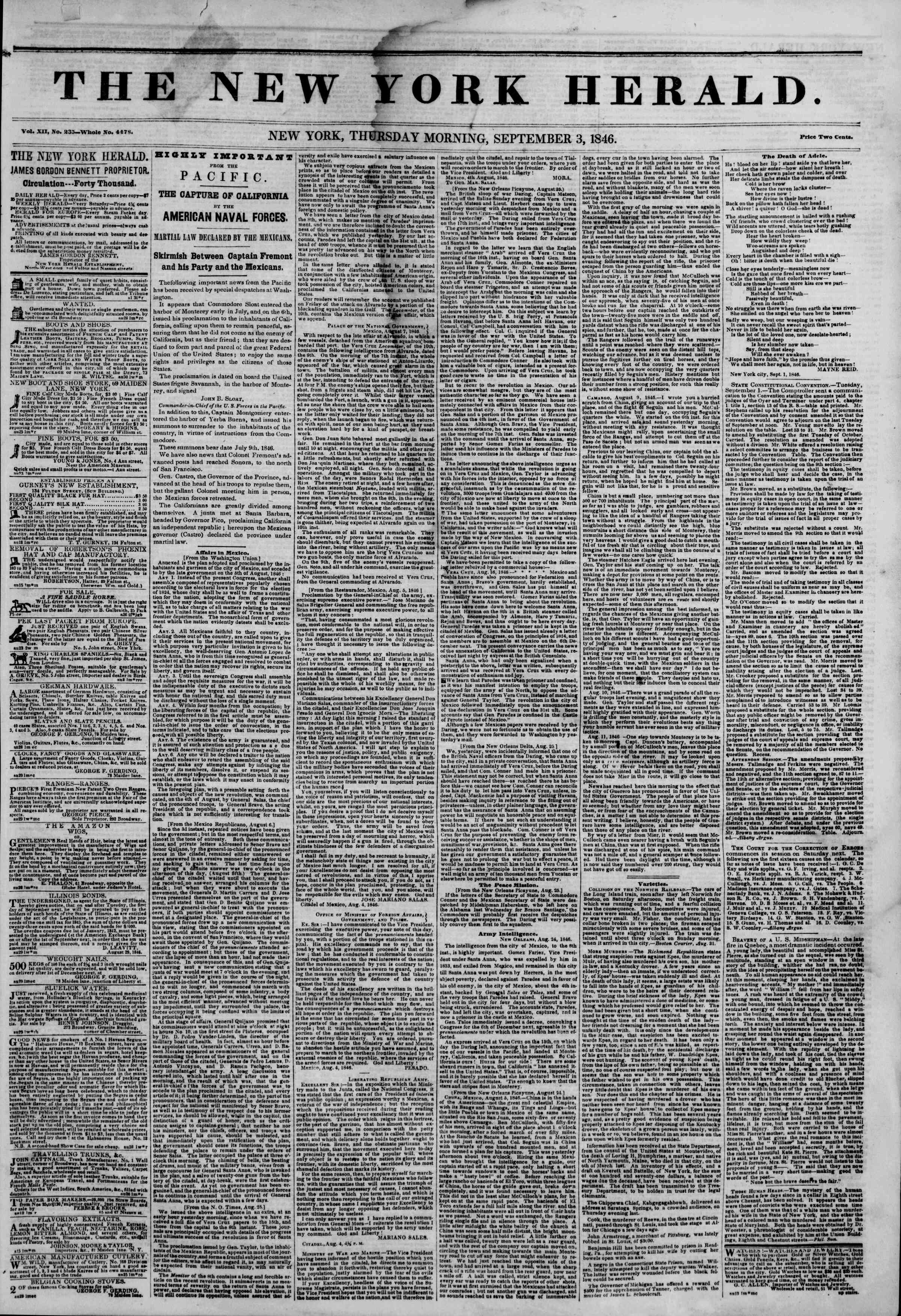Newspaper of The New York Herald dated September 3, 1846 Page 1