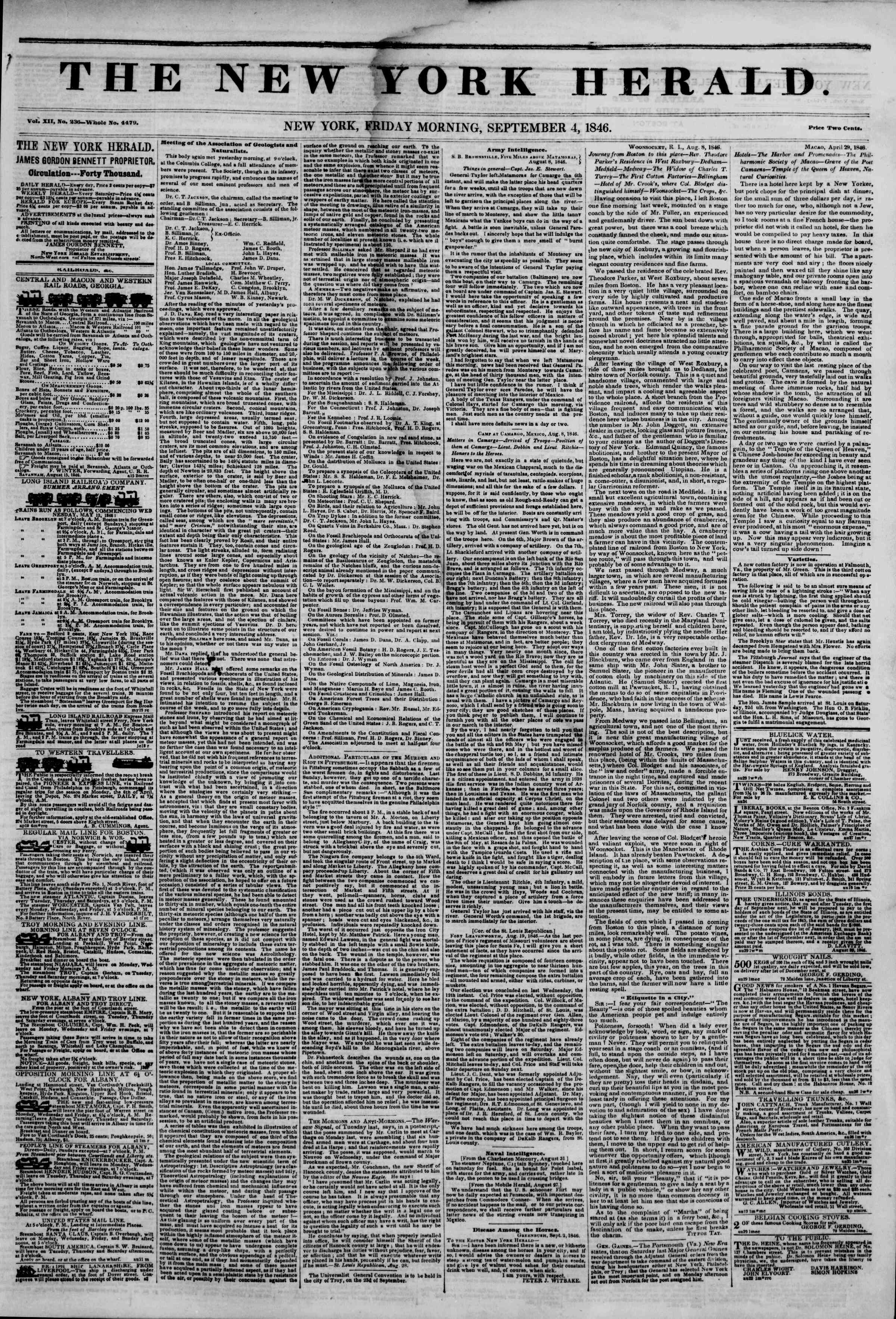 Newspaper of The New York Herald dated September 4, 1846 Page 1