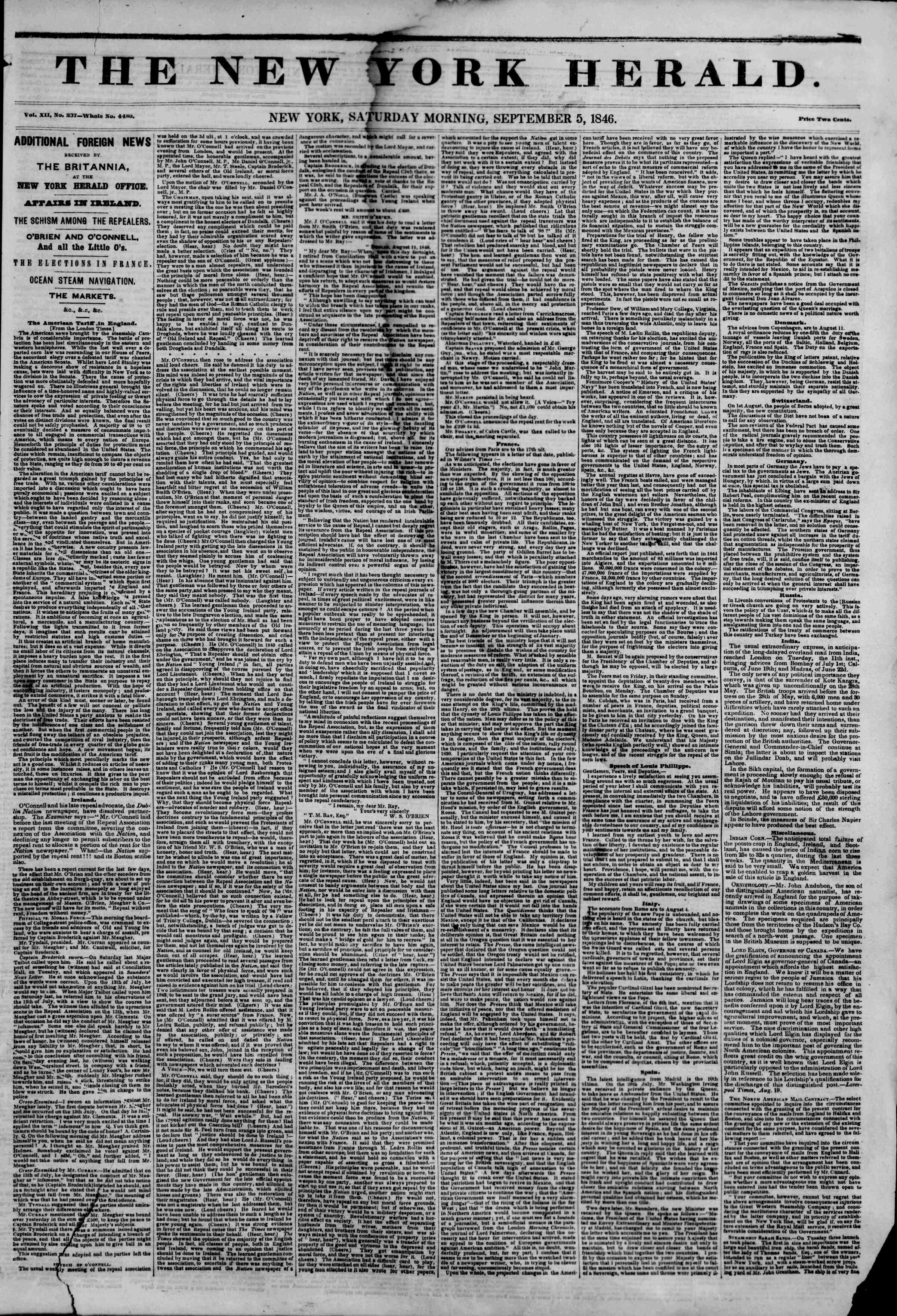 Newspaper of The New York Herald dated 5 Eylül 1846 Page 1