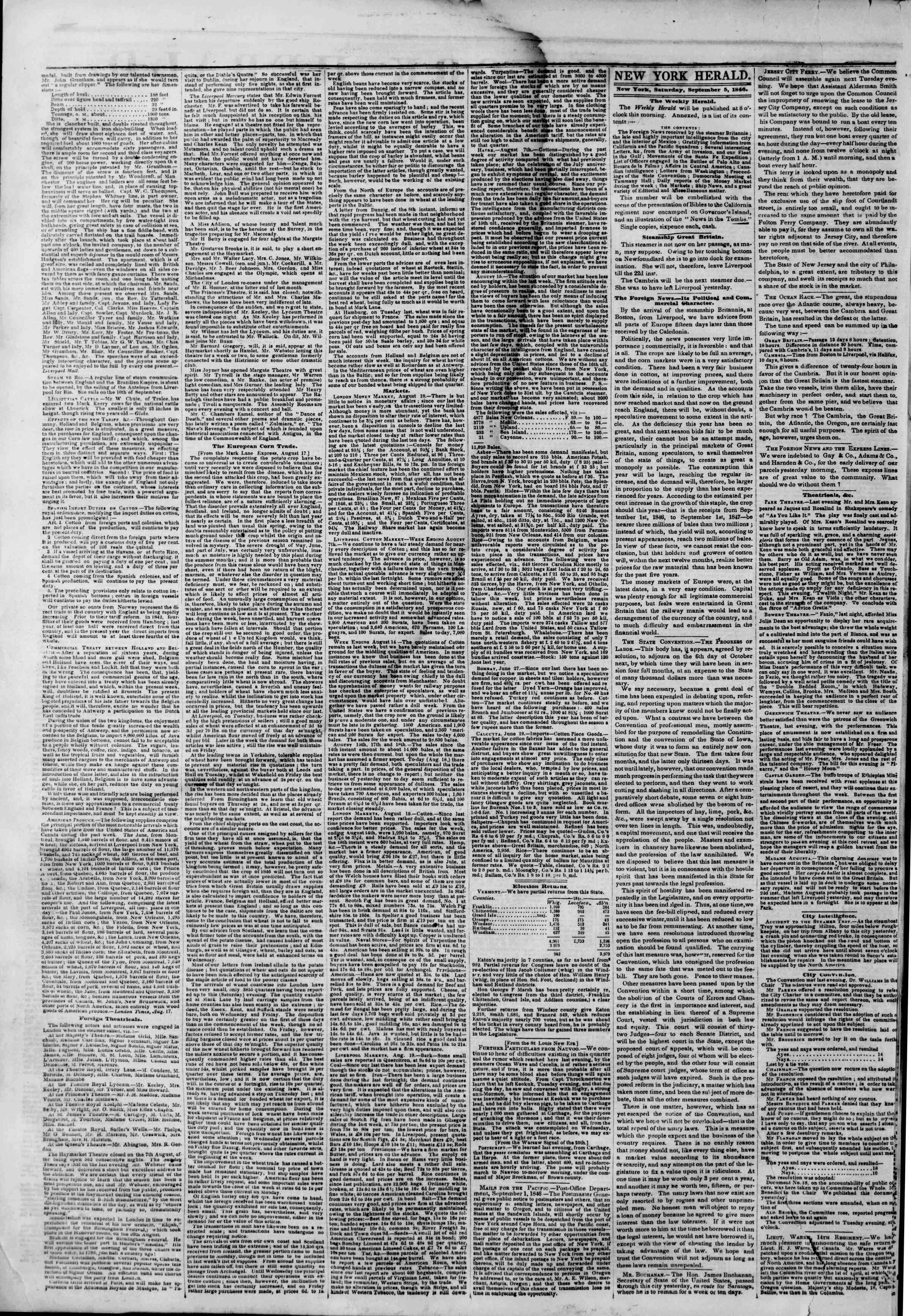 Newspaper of The New York Herald dated September 5, 1846 Page 2