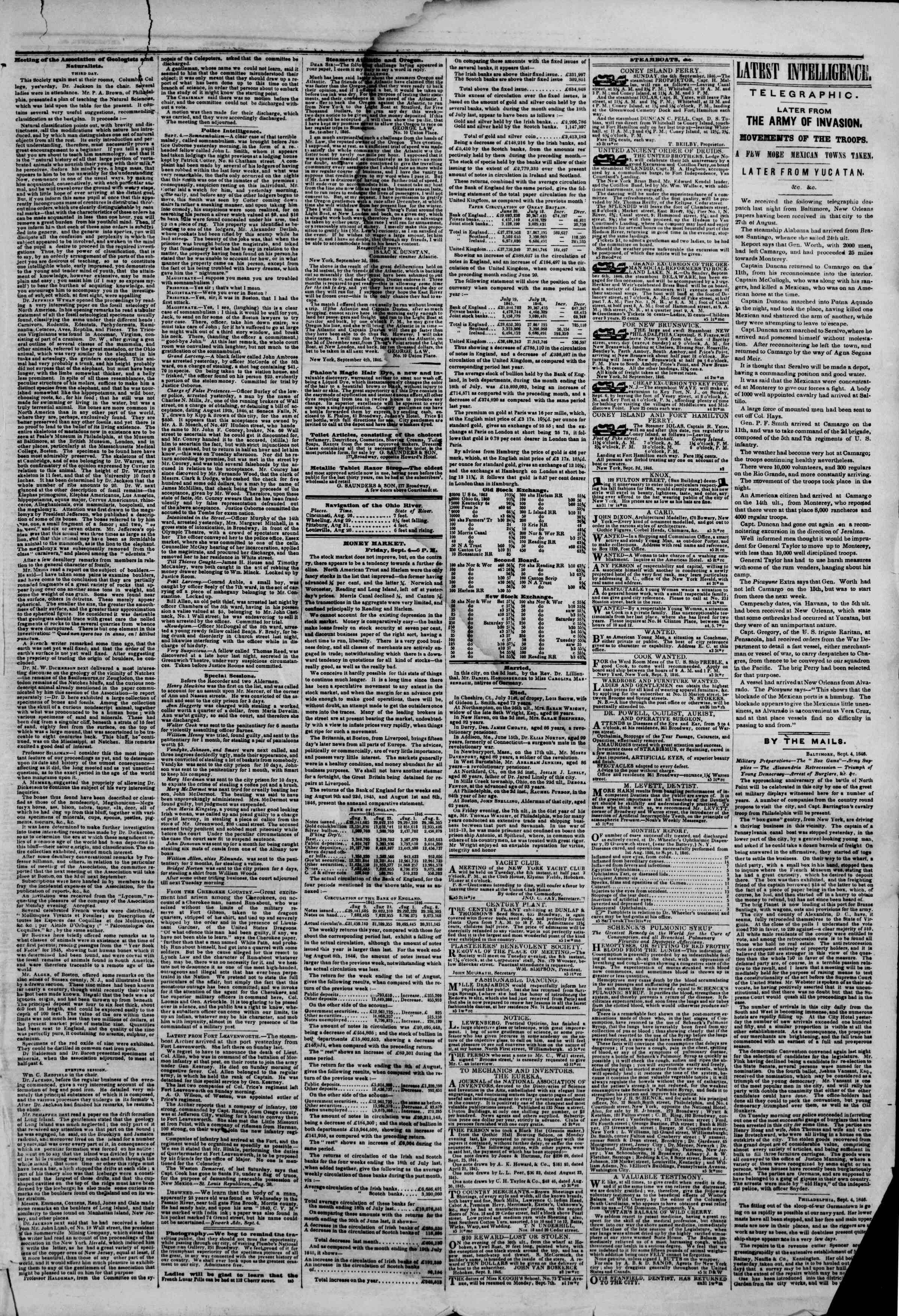 Newspaper of The New York Herald dated September 5, 1846 Page 3