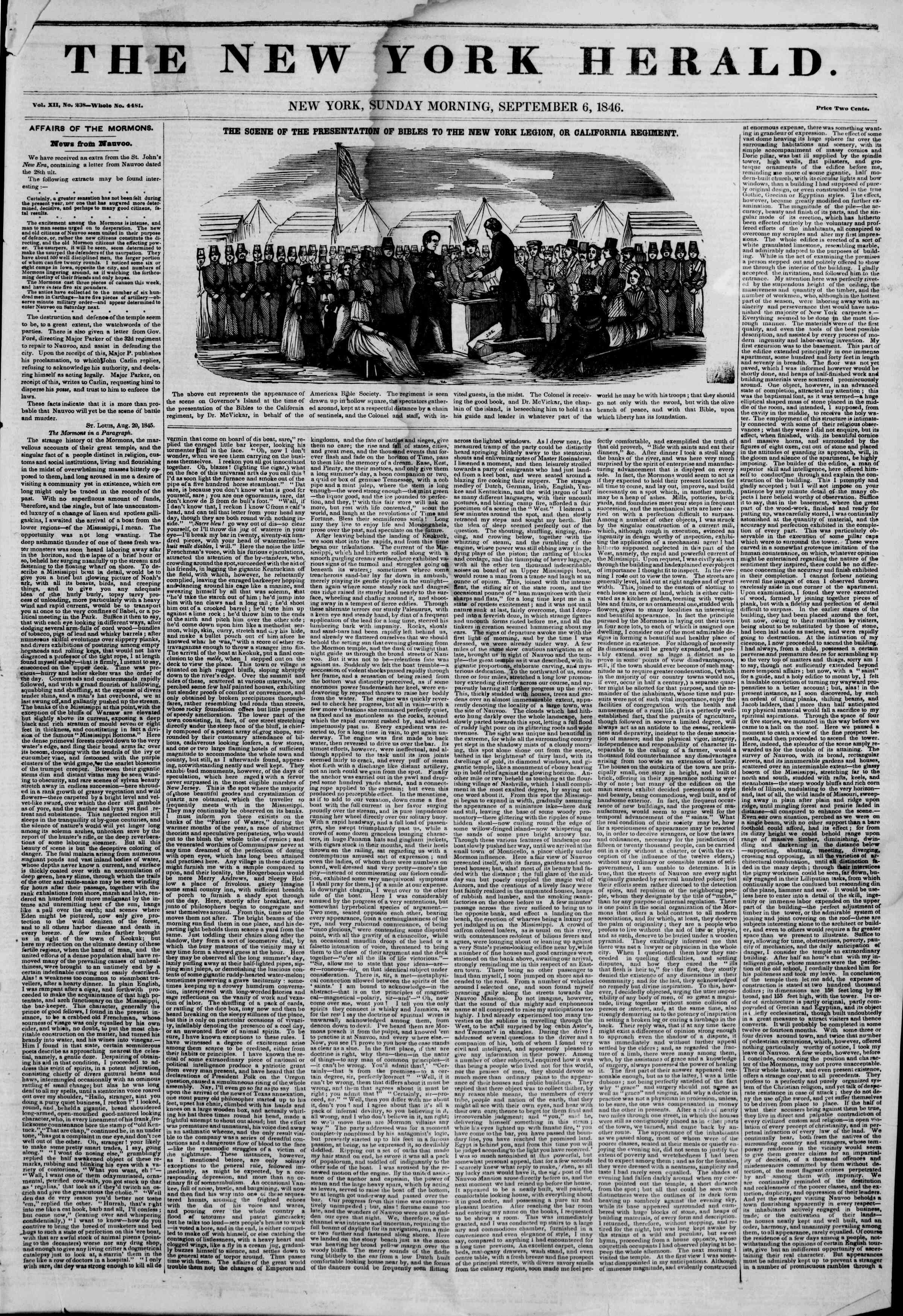 Newspaper of The New York Herald dated September 6, 1846 Page 1