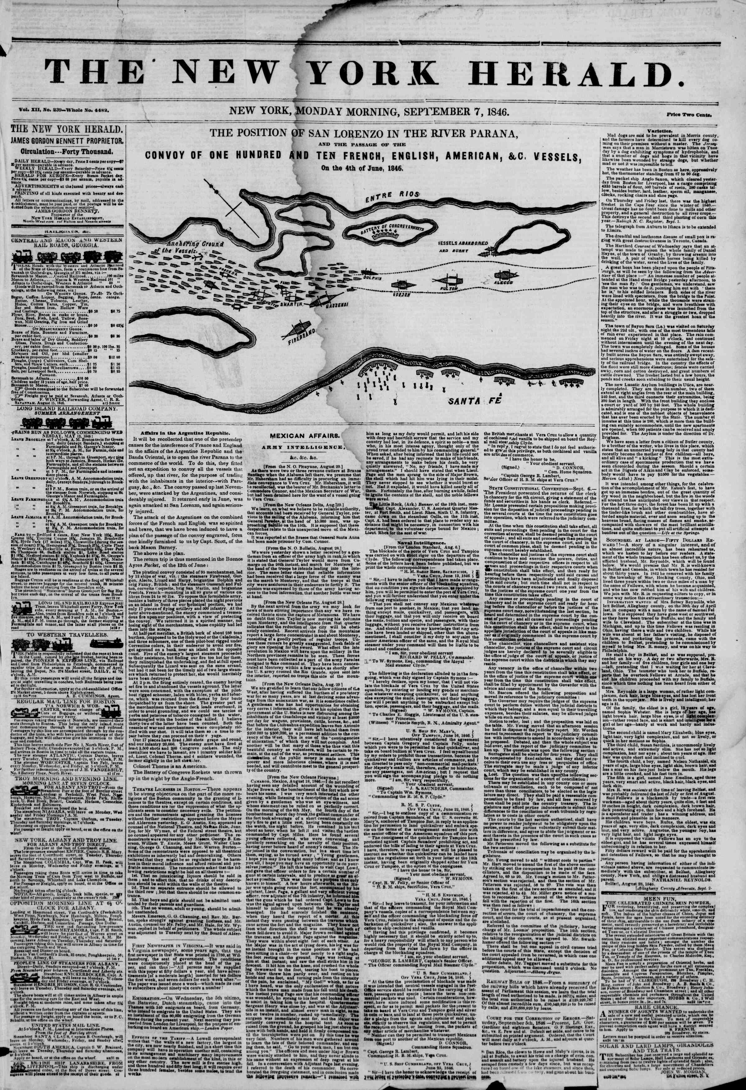 Newspaper of The New York Herald dated September 7, 1846 Page 1