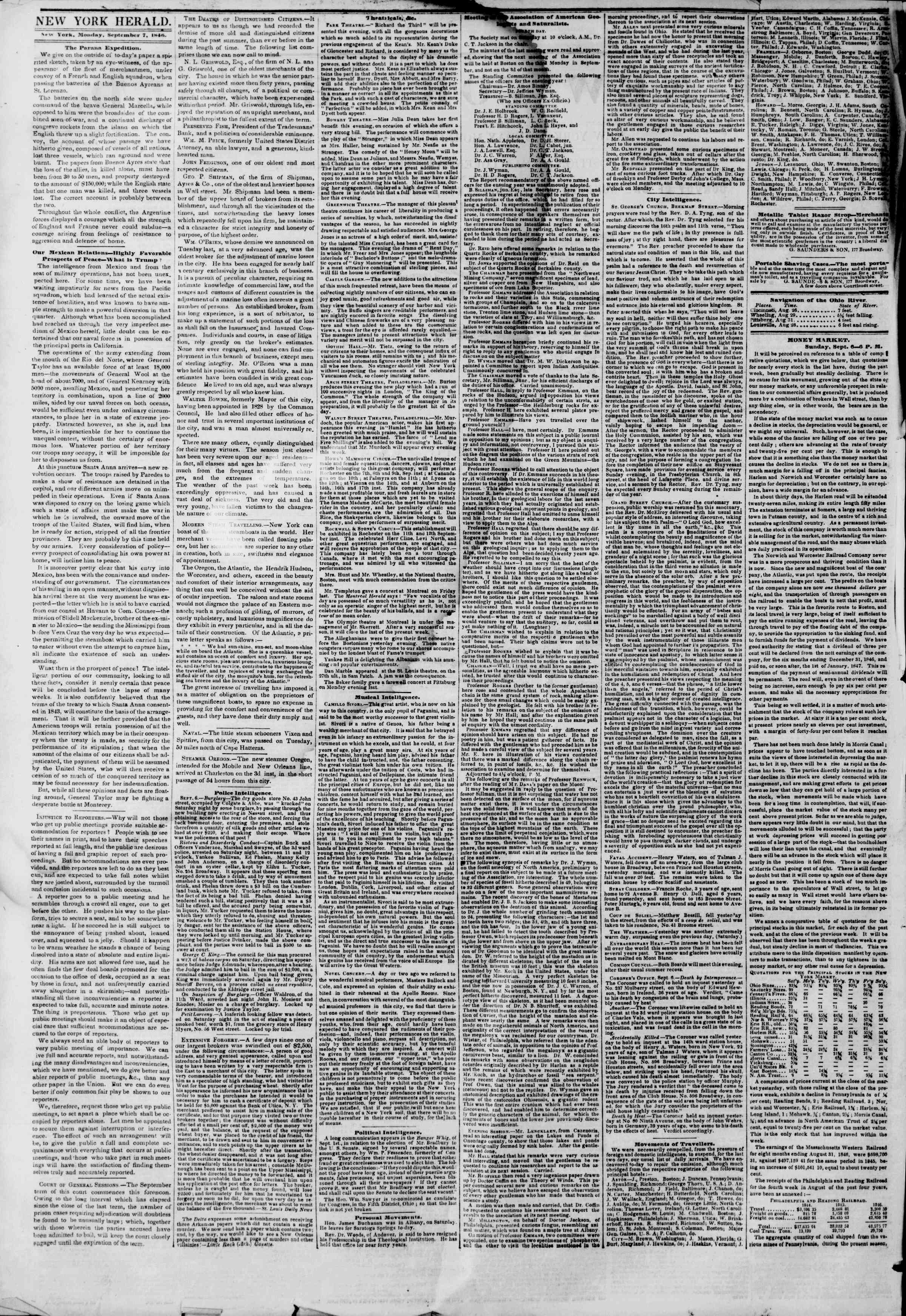 Newspaper of The New York Herald dated September 7, 1846 Page 2