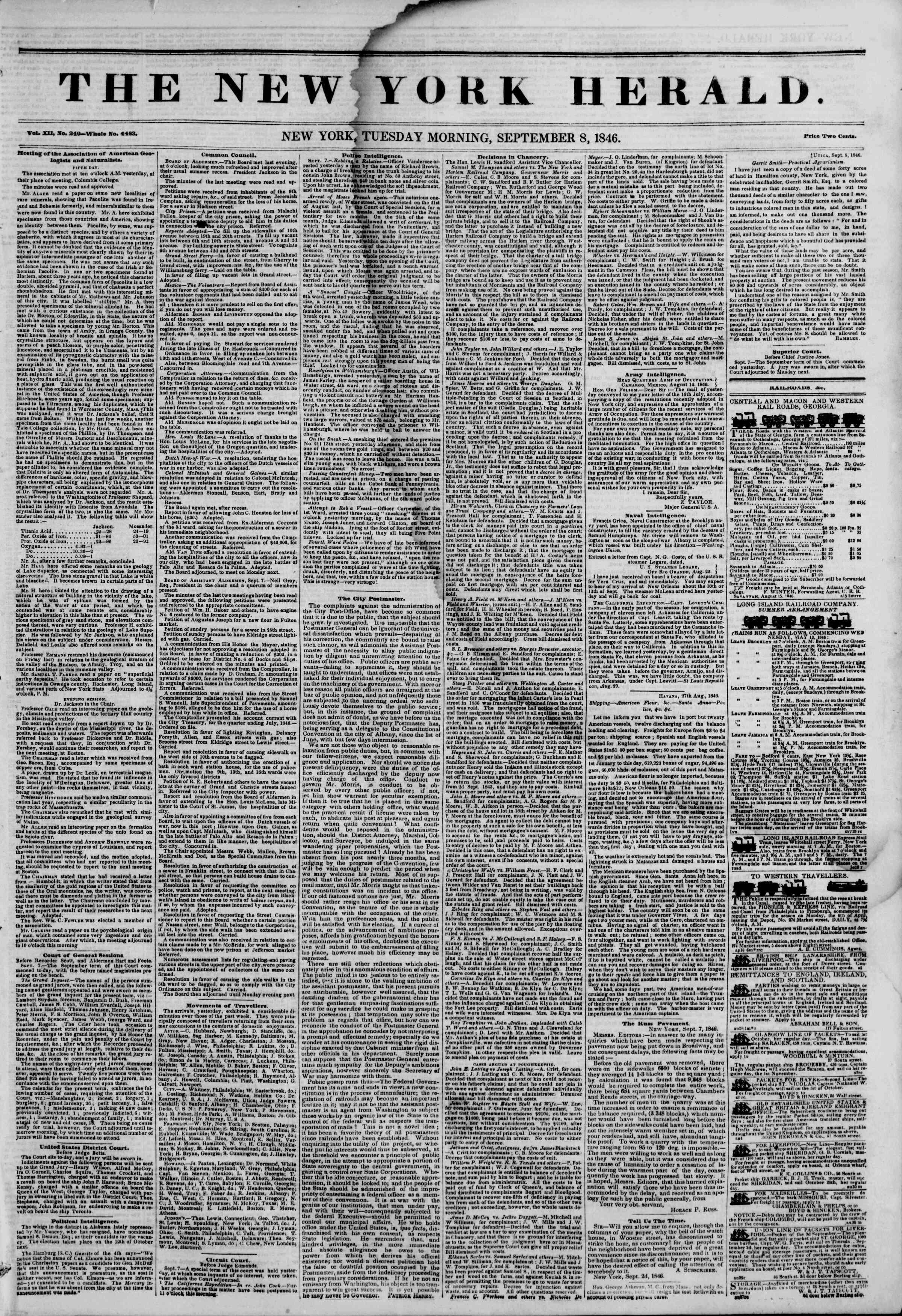 8 Eylül 1846 tarihli The New York Herald Gazetesi Sayfa 1