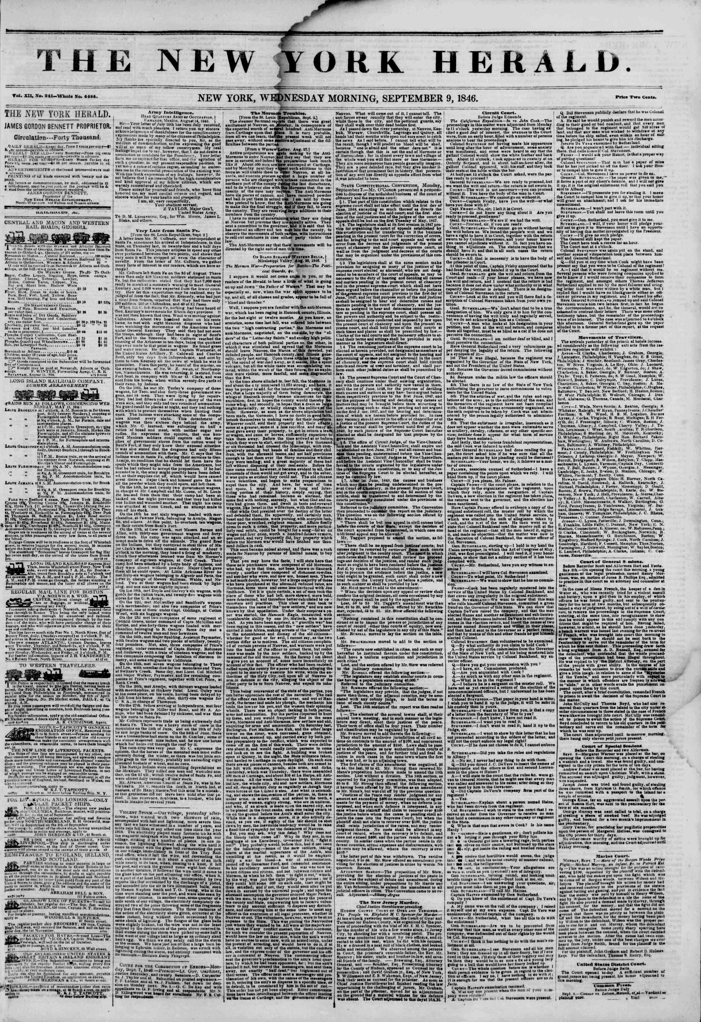 Newspaper of The New York Herald dated September 9, 1846 Page 1