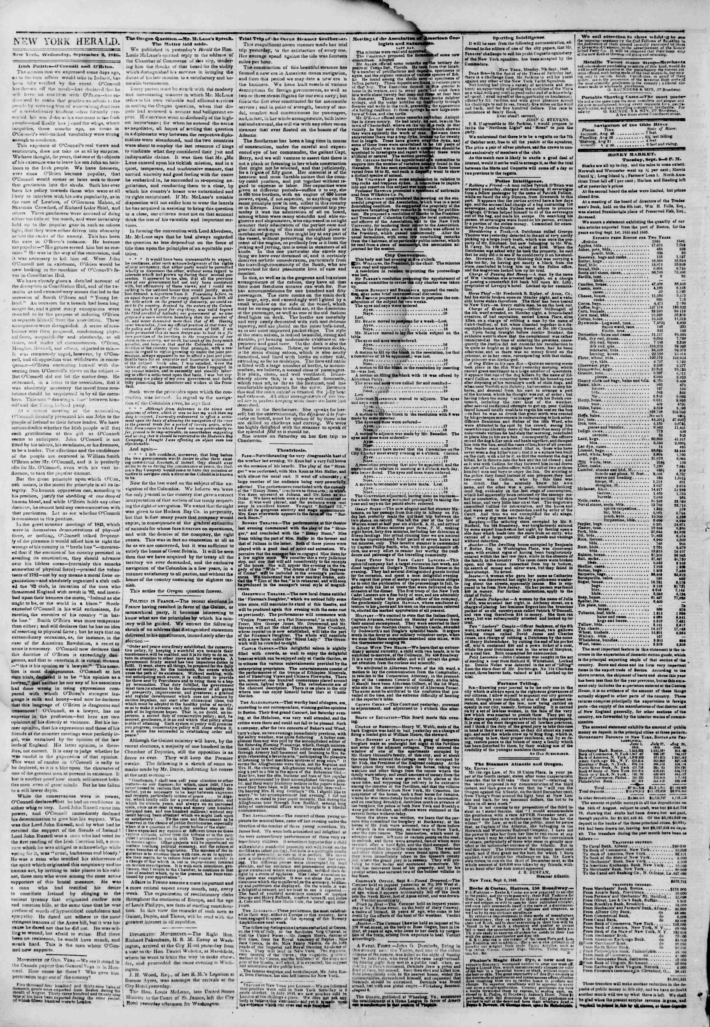 Newspaper of The New York Herald dated September 9, 1846 Page 2