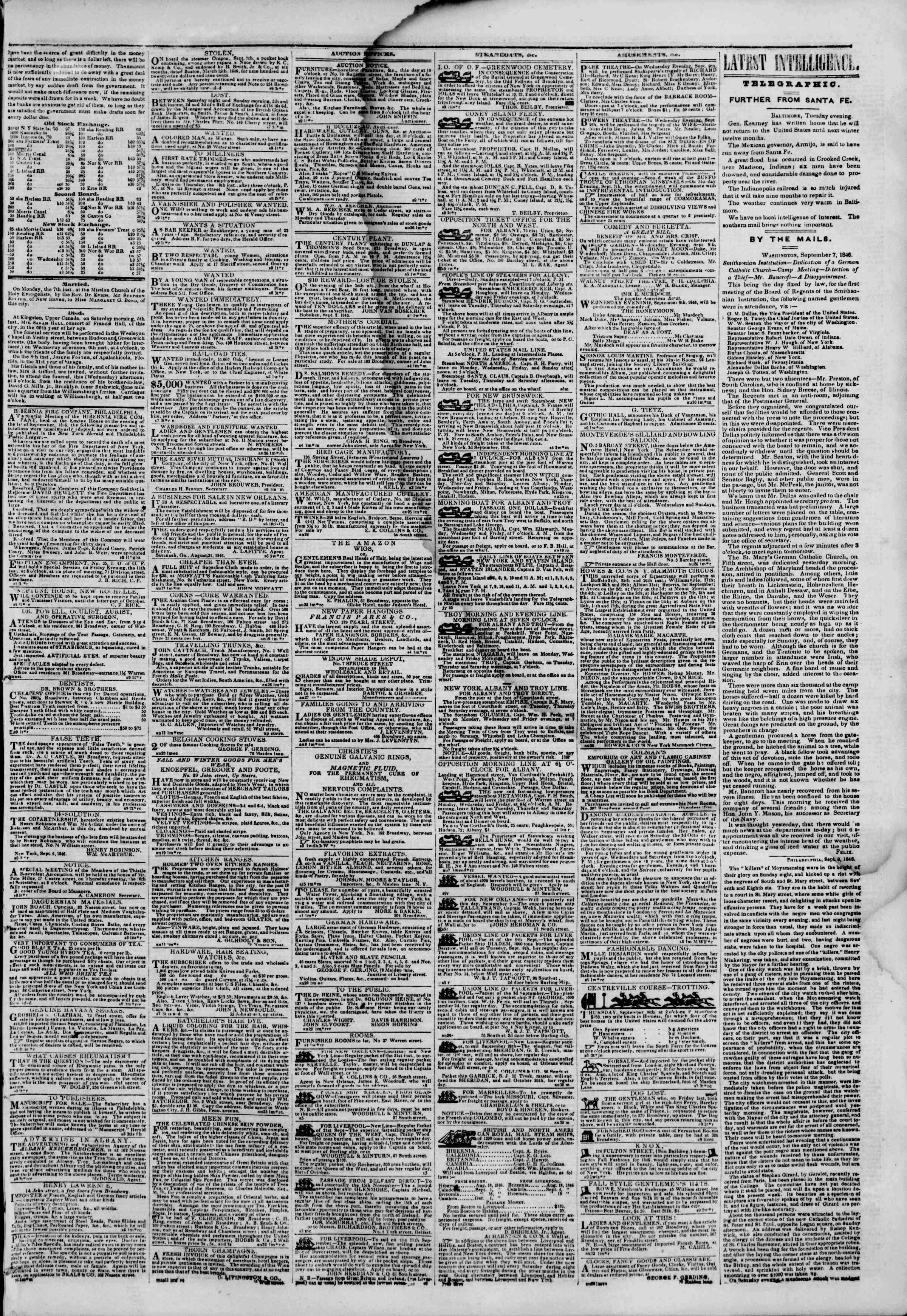 Newspaper of The New York Herald dated September 9, 1846 Page 3