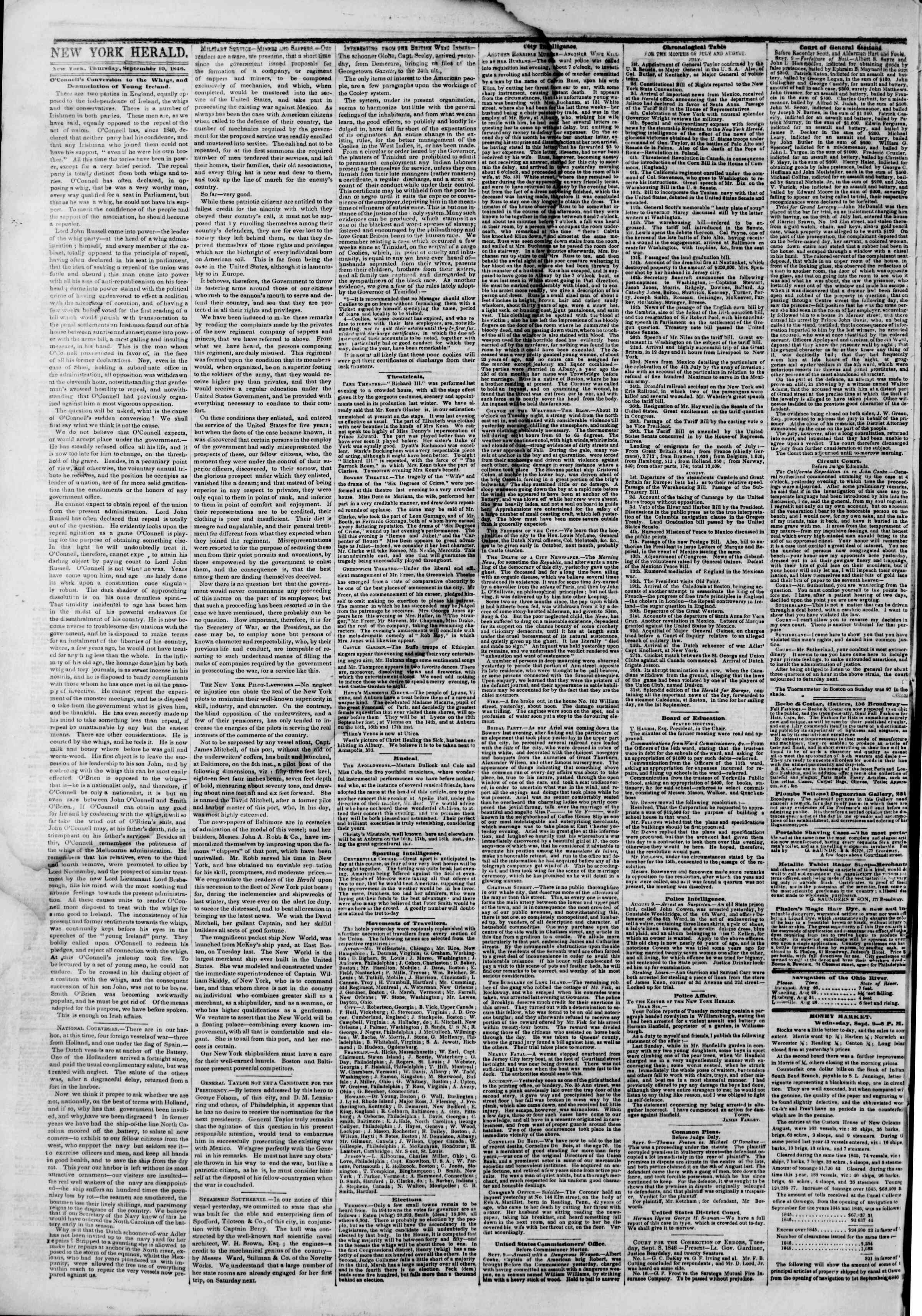 Newspaper of The New York Herald dated September 10, 1846 Page 2