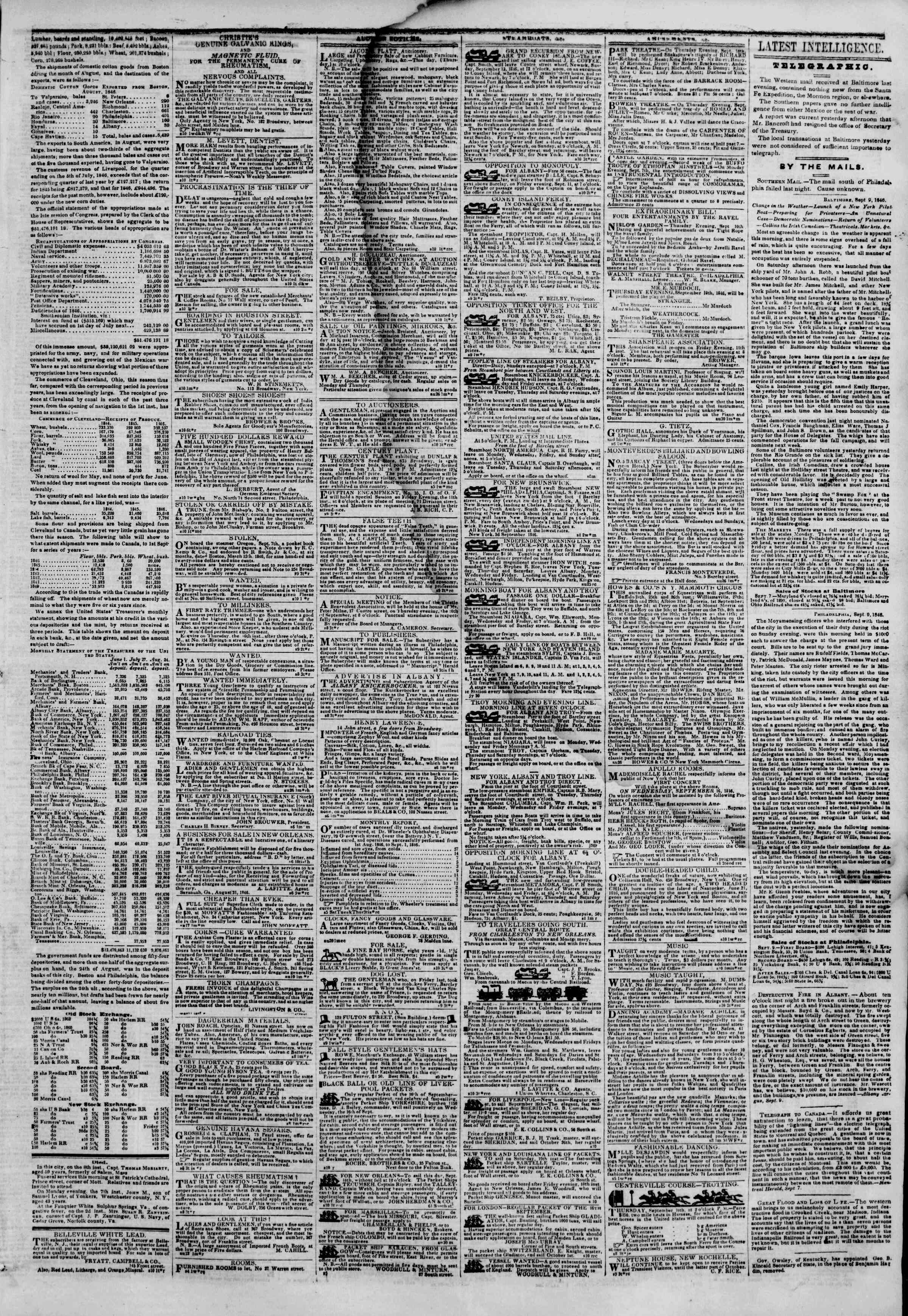 Newspaper of The New York Herald dated September 10, 1846 Page 3