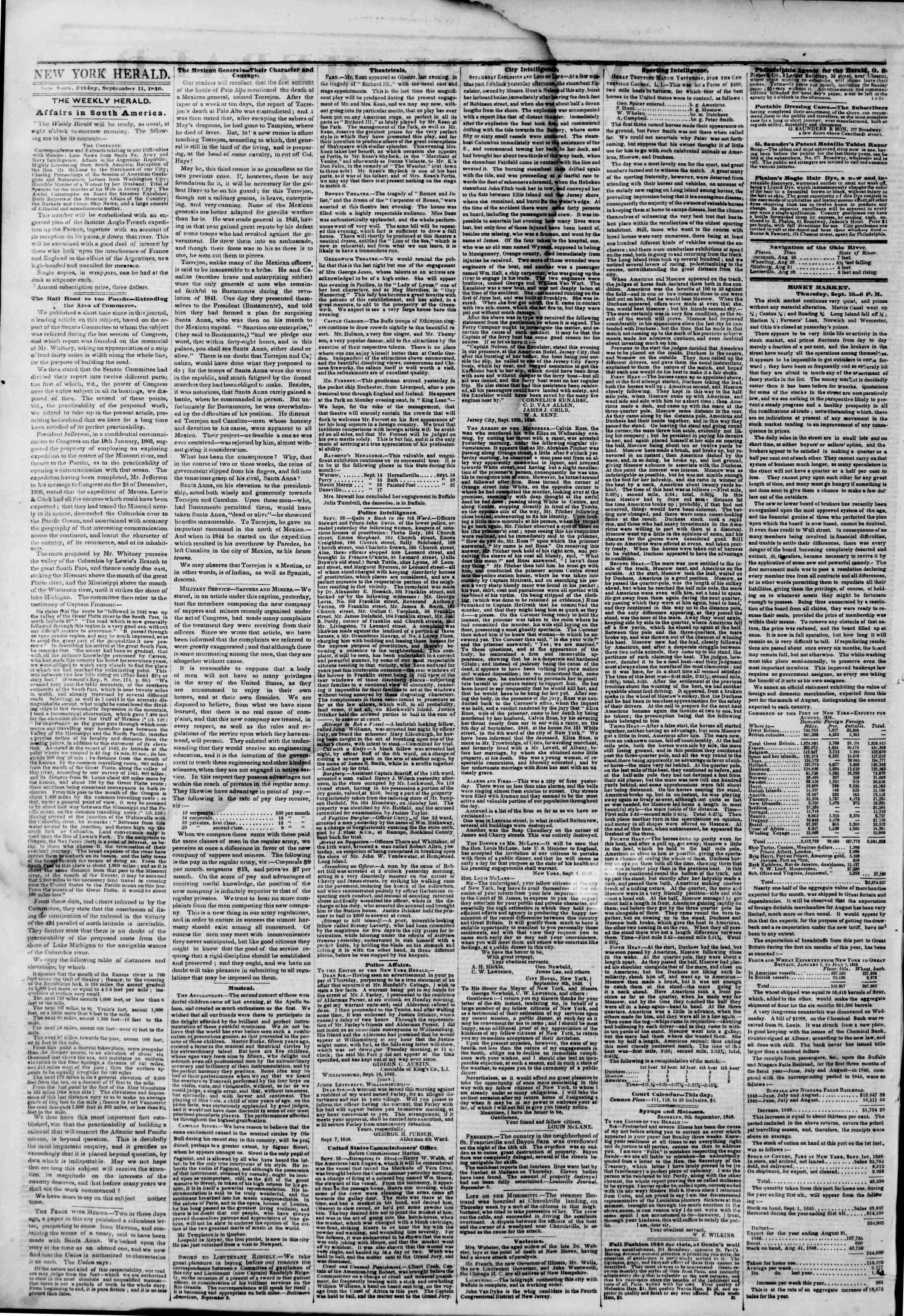 Newspaper of The New York Herald dated September 11, 1846 Page 2