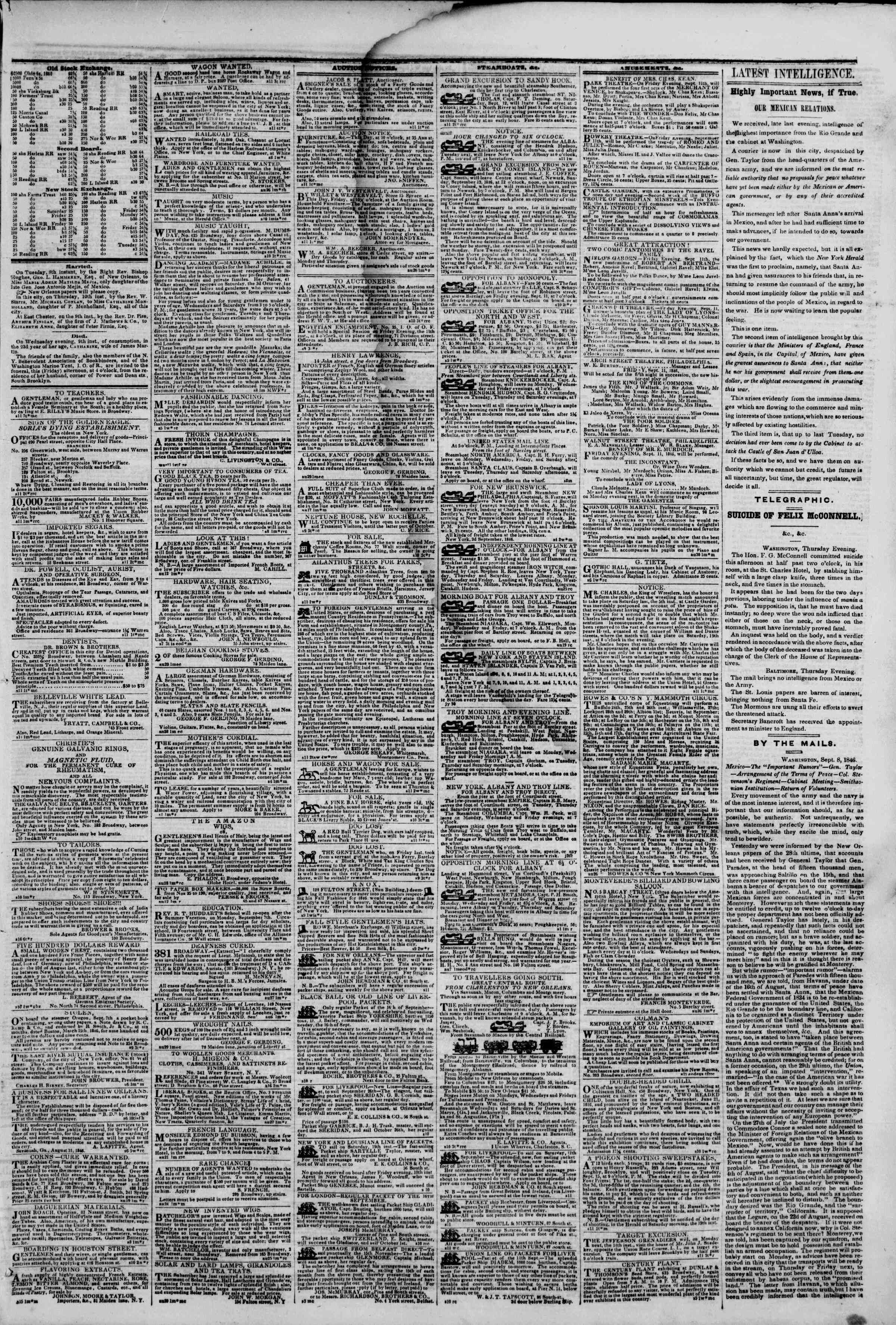 Newspaper of The New York Herald dated September 11, 1846 Page 3