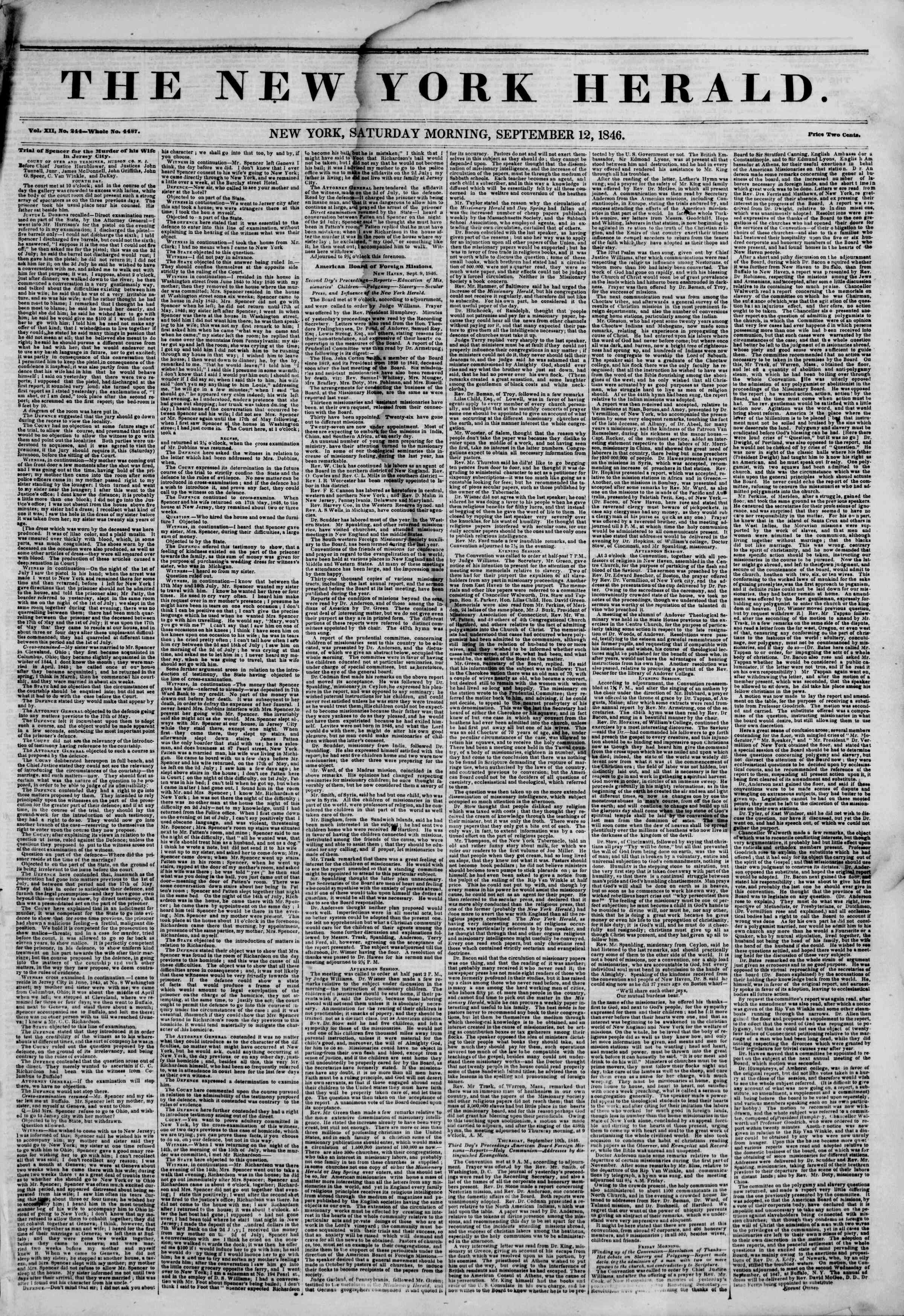 Newspaper of The New York Herald dated September 12, 1846 Page 1