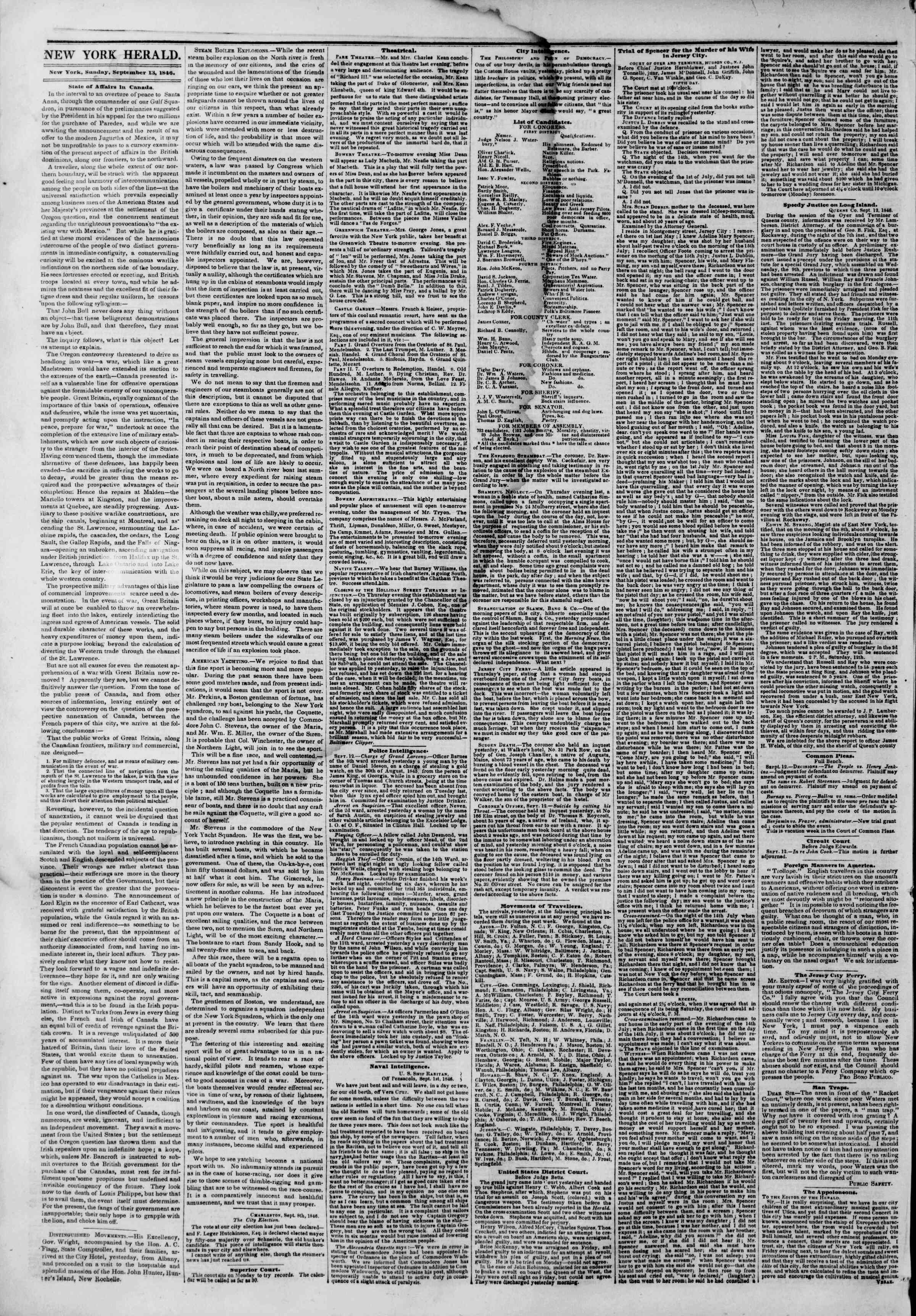 Newspaper of The New York Herald dated September 13, 1846 Page 2