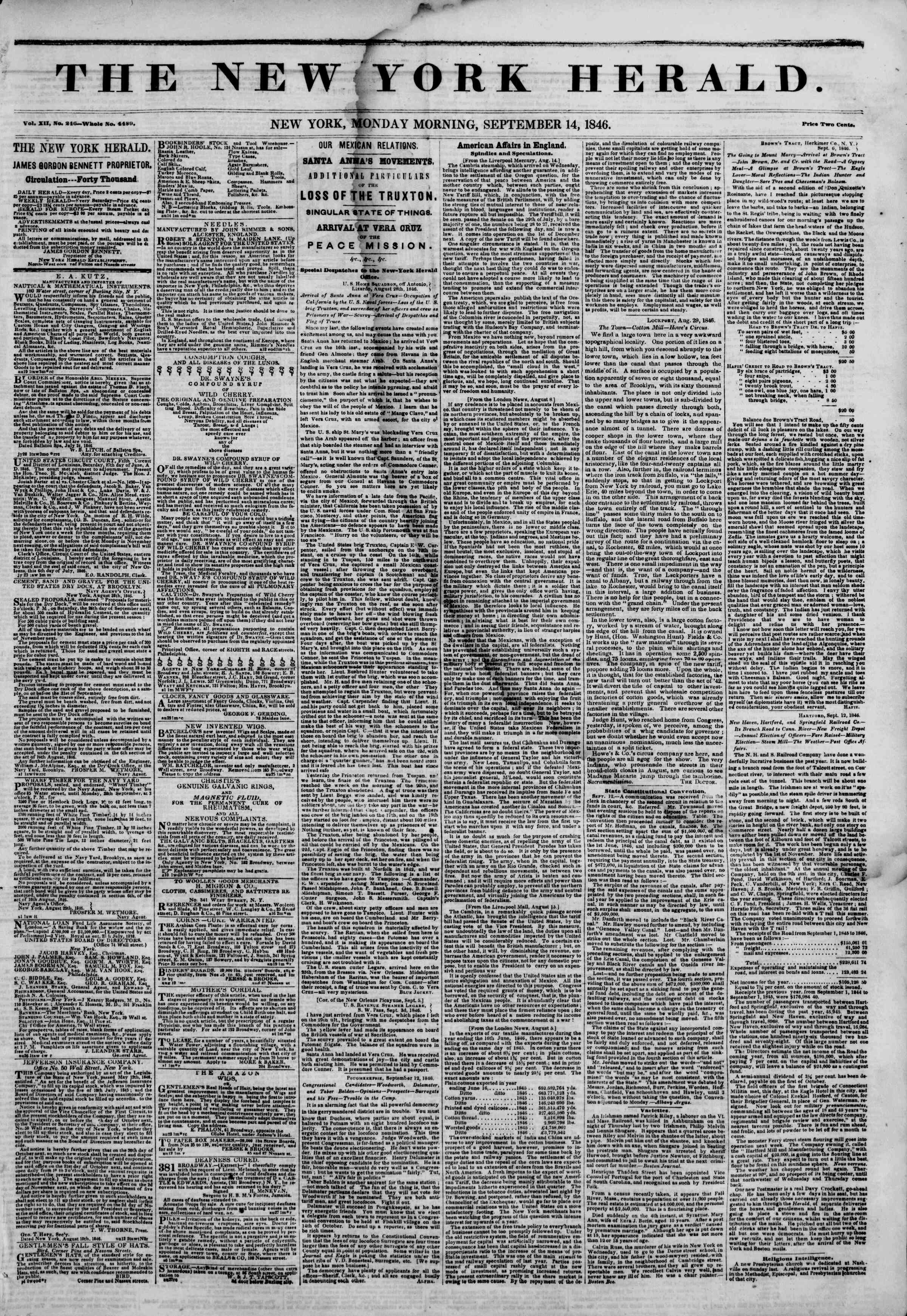 Newspaper of The New York Herald dated September 14, 1846 Page 1