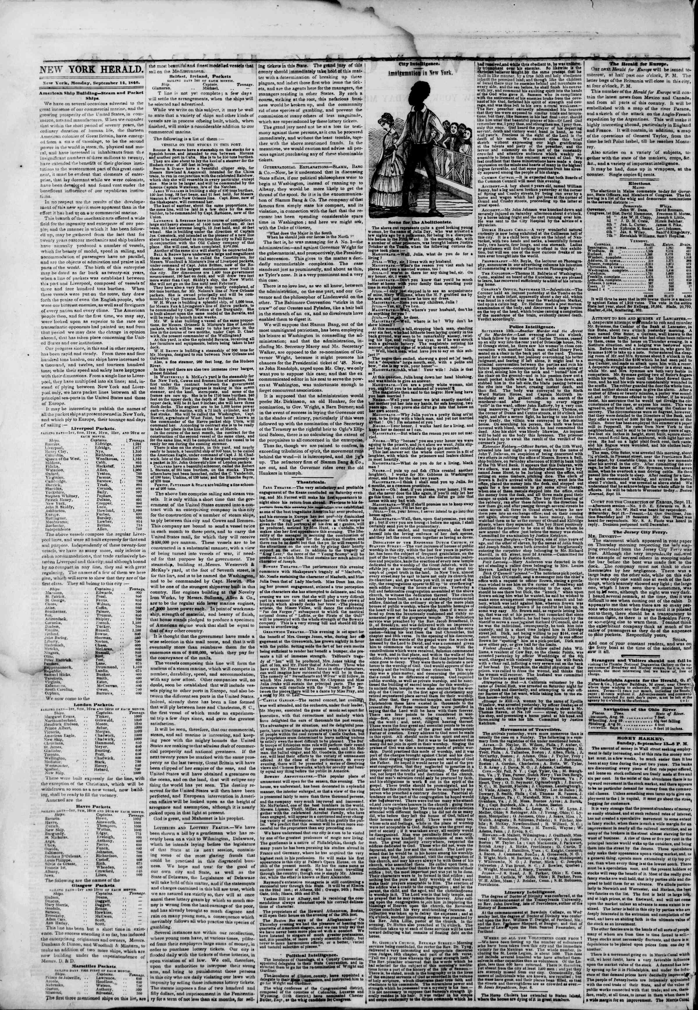 Newspaper of The New York Herald dated September 14, 1846 Page 2