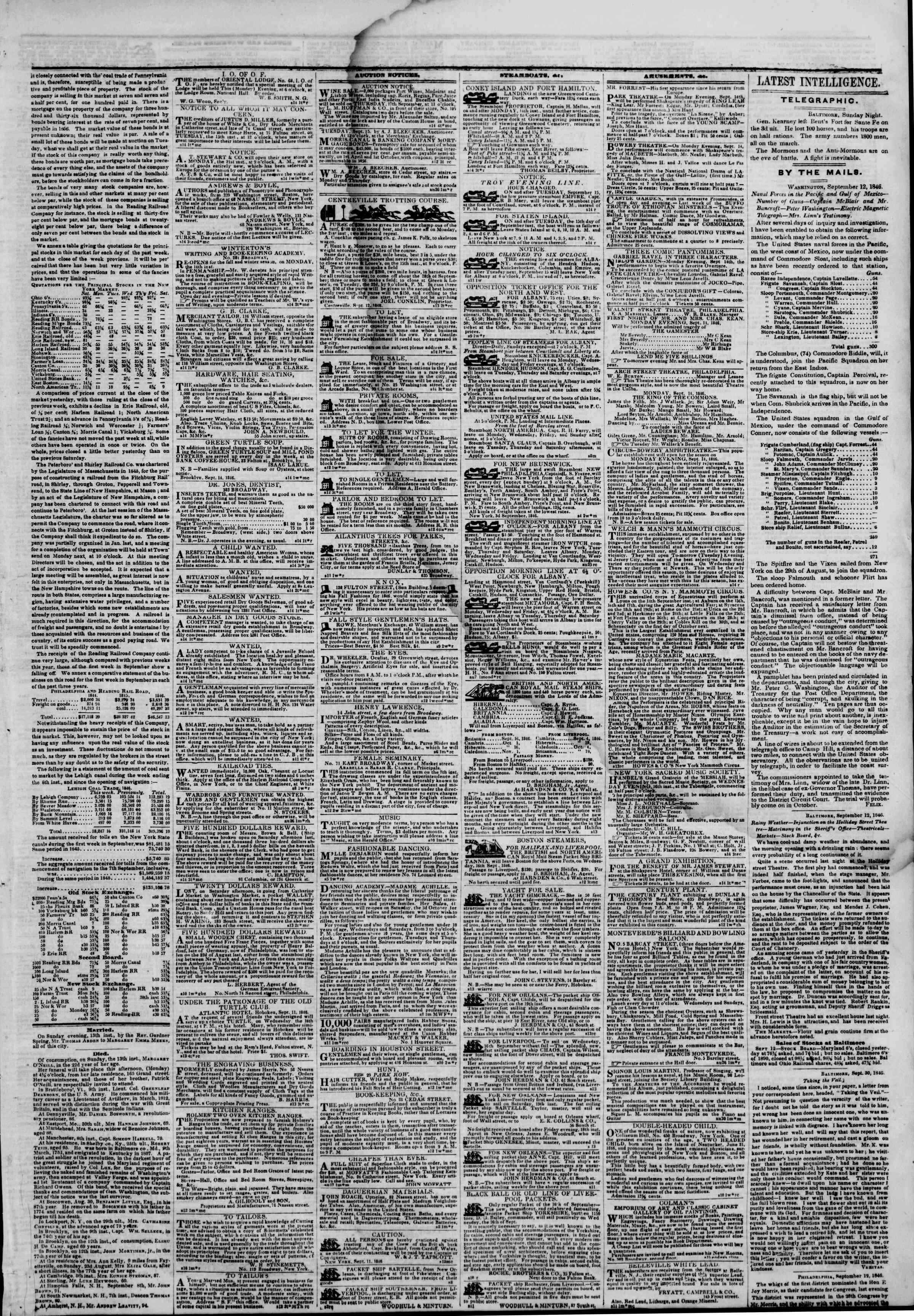 Newspaper of The New York Herald dated September 14, 1846 Page 3