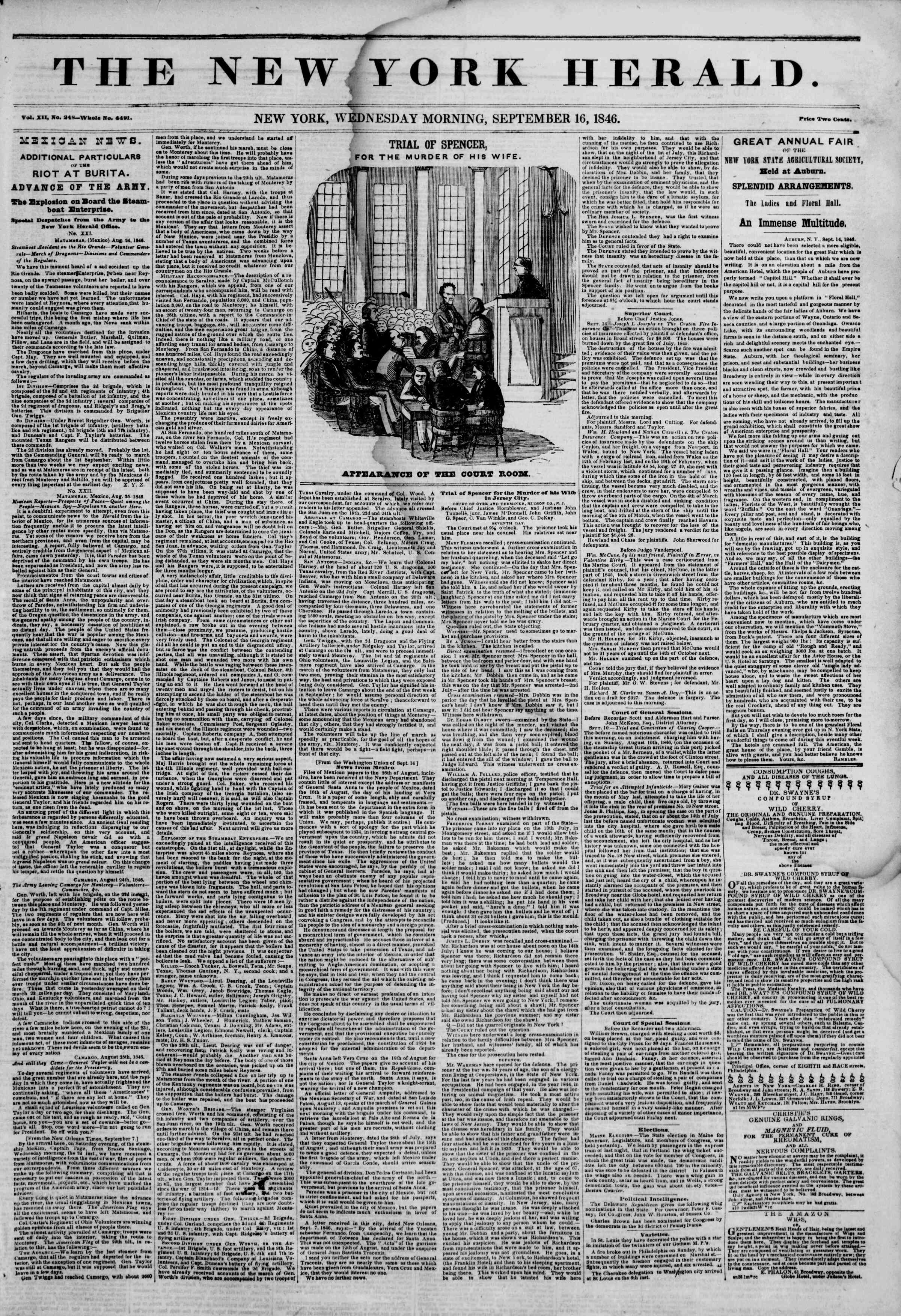Newspaper of The New York Herald dated September 16, 1846 Page 1