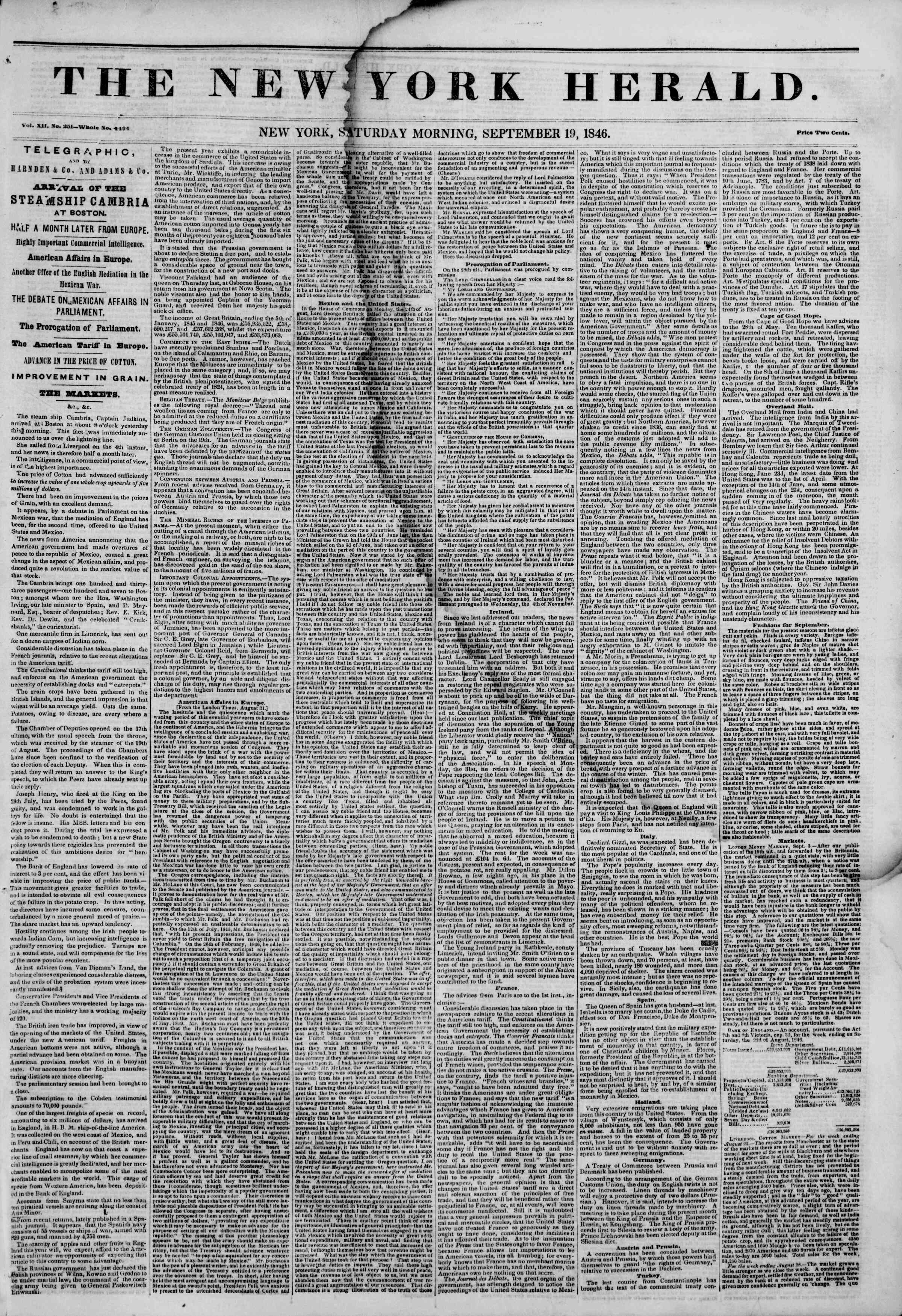 Newspaper of The New York Herald dated September 19, 1846 Page 1
