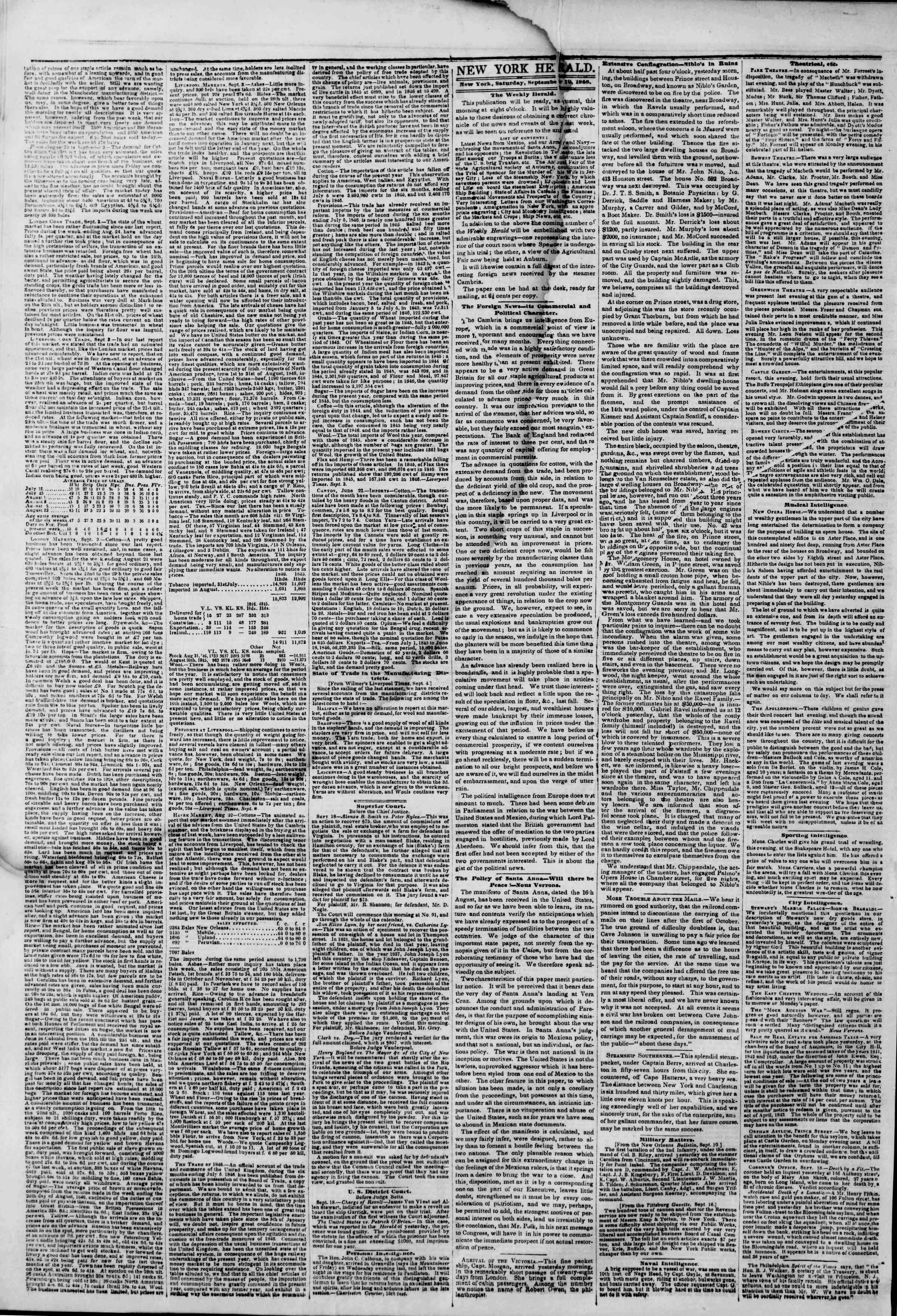 Newspaper of The New York Herald dated September 19, 1846 Page 2