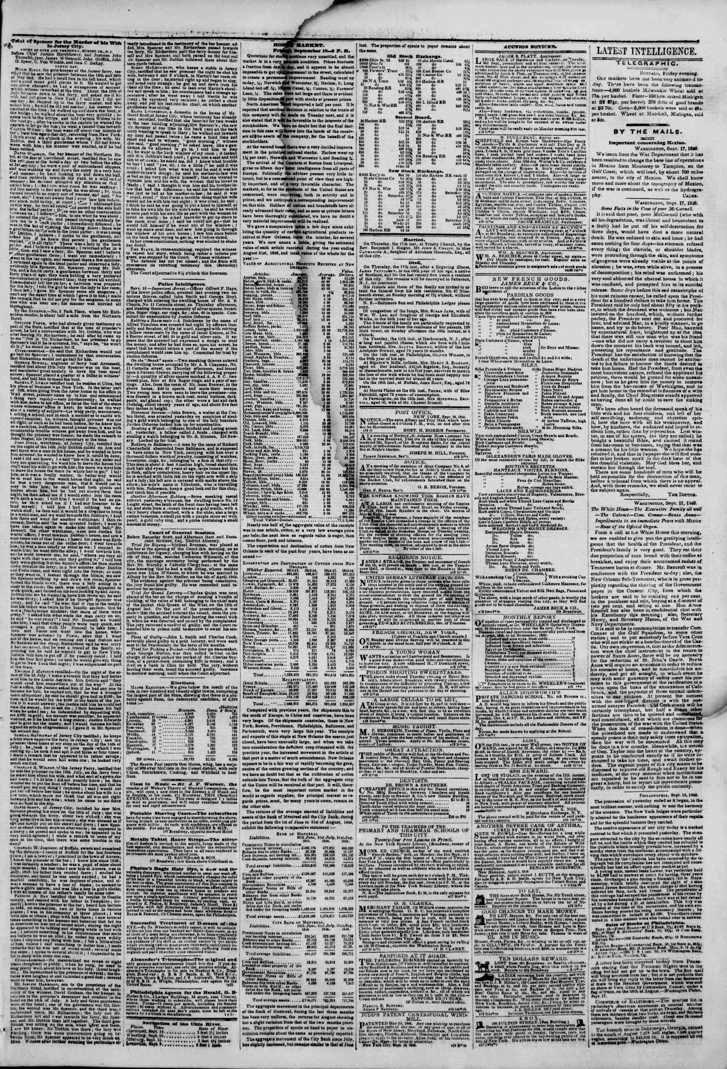 Newspaper of The New York Herald dated September 19, 1846 Page 3